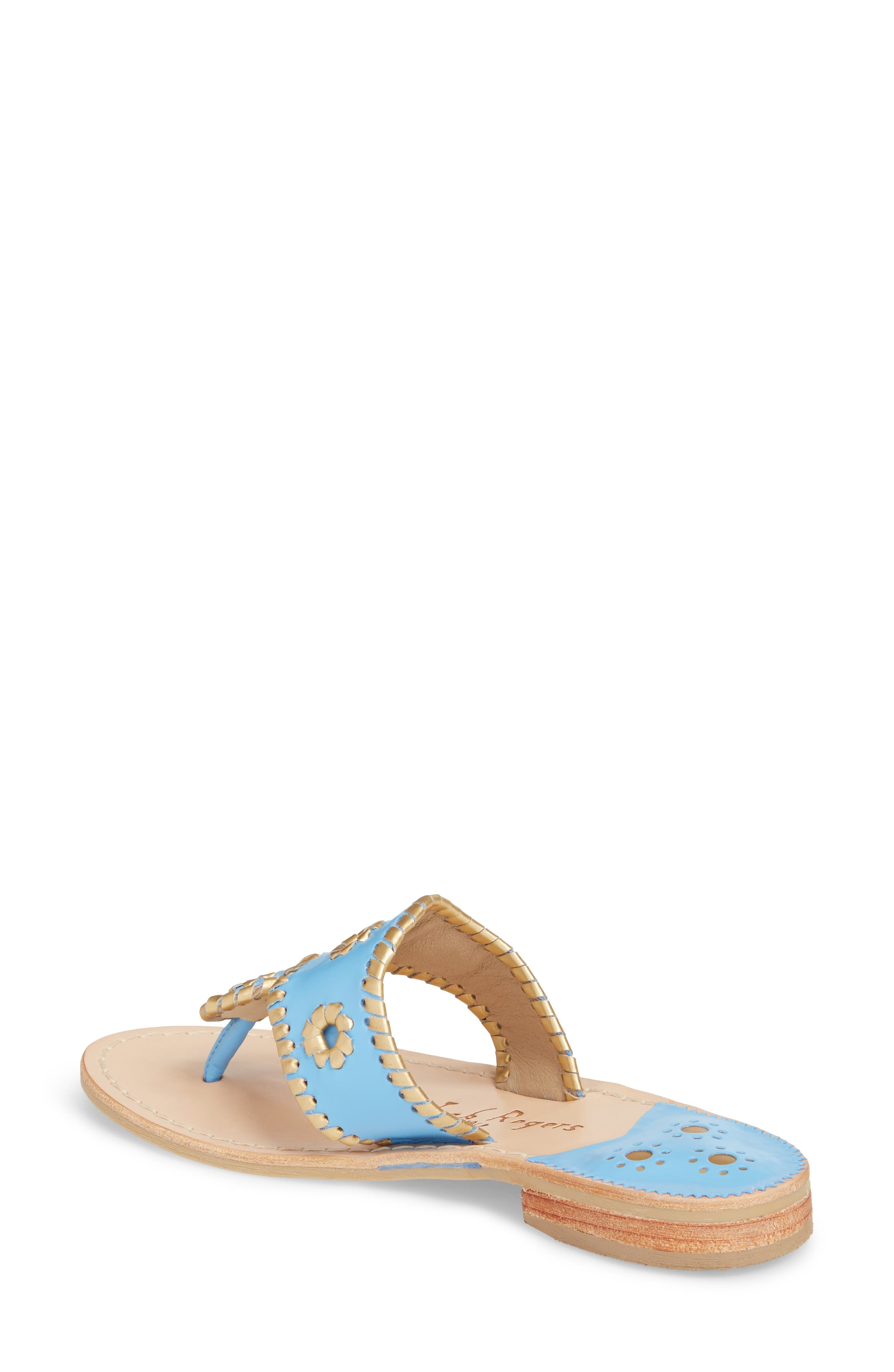 Hollis Flat Sandal,                             Alternate thumbnail 2, color,                             French Blue Leather