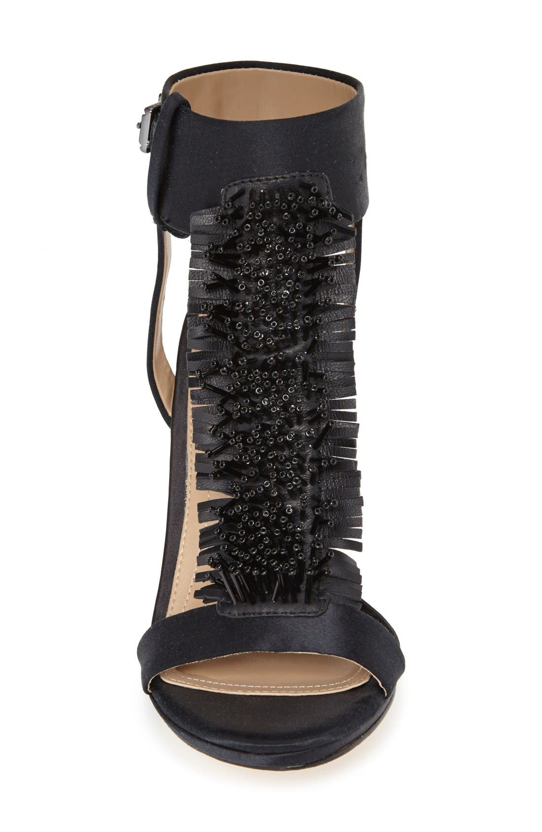 Alternate Image 3  - BCBGMAXAZRIA 'Ma-Limbo' Fringe T-Strap Satin Sandal (Women)