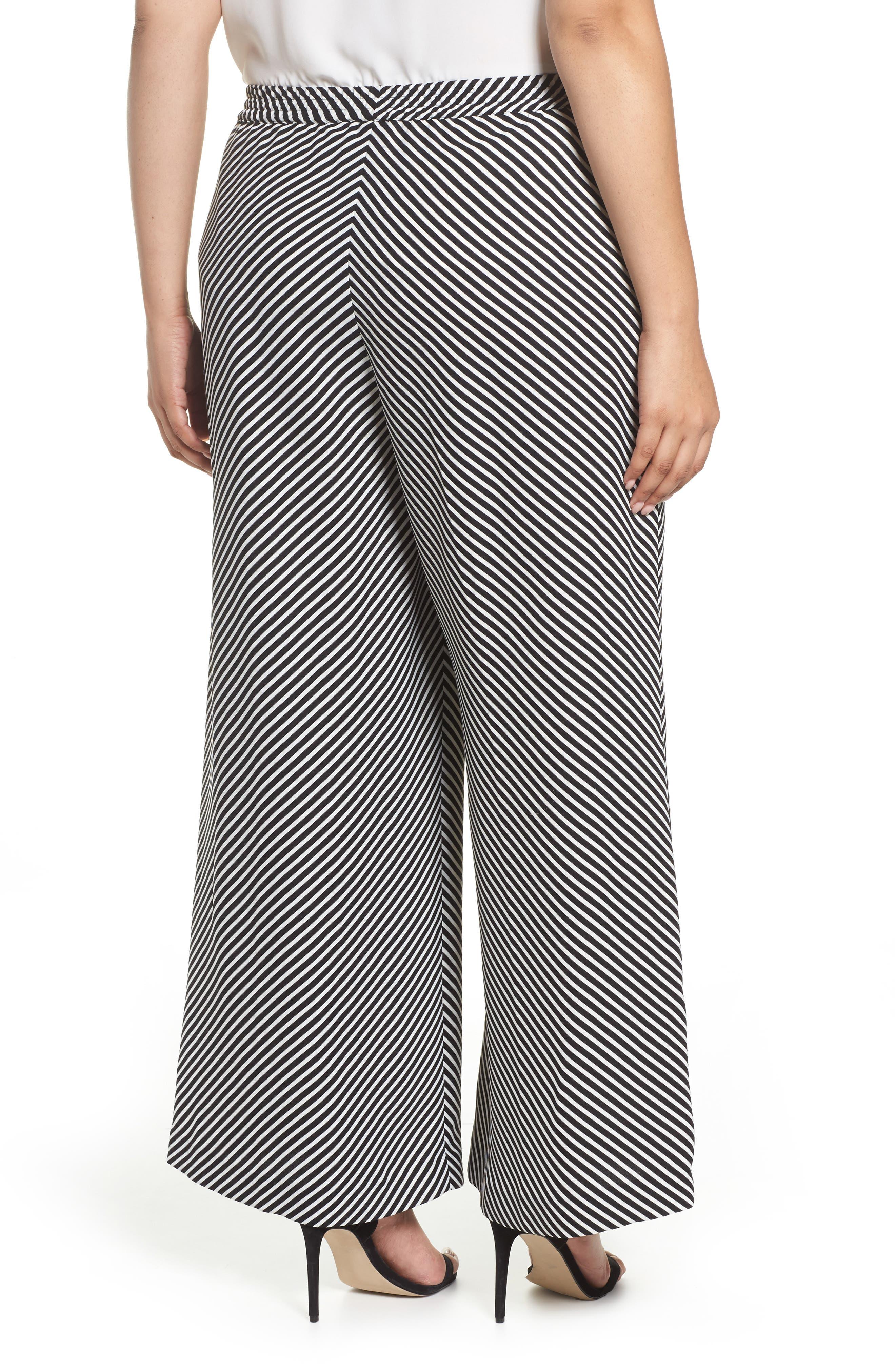 Diagonal Stripe Wide Leg Pants,                             Alternate thumbnail 2, color,                             Rich Black