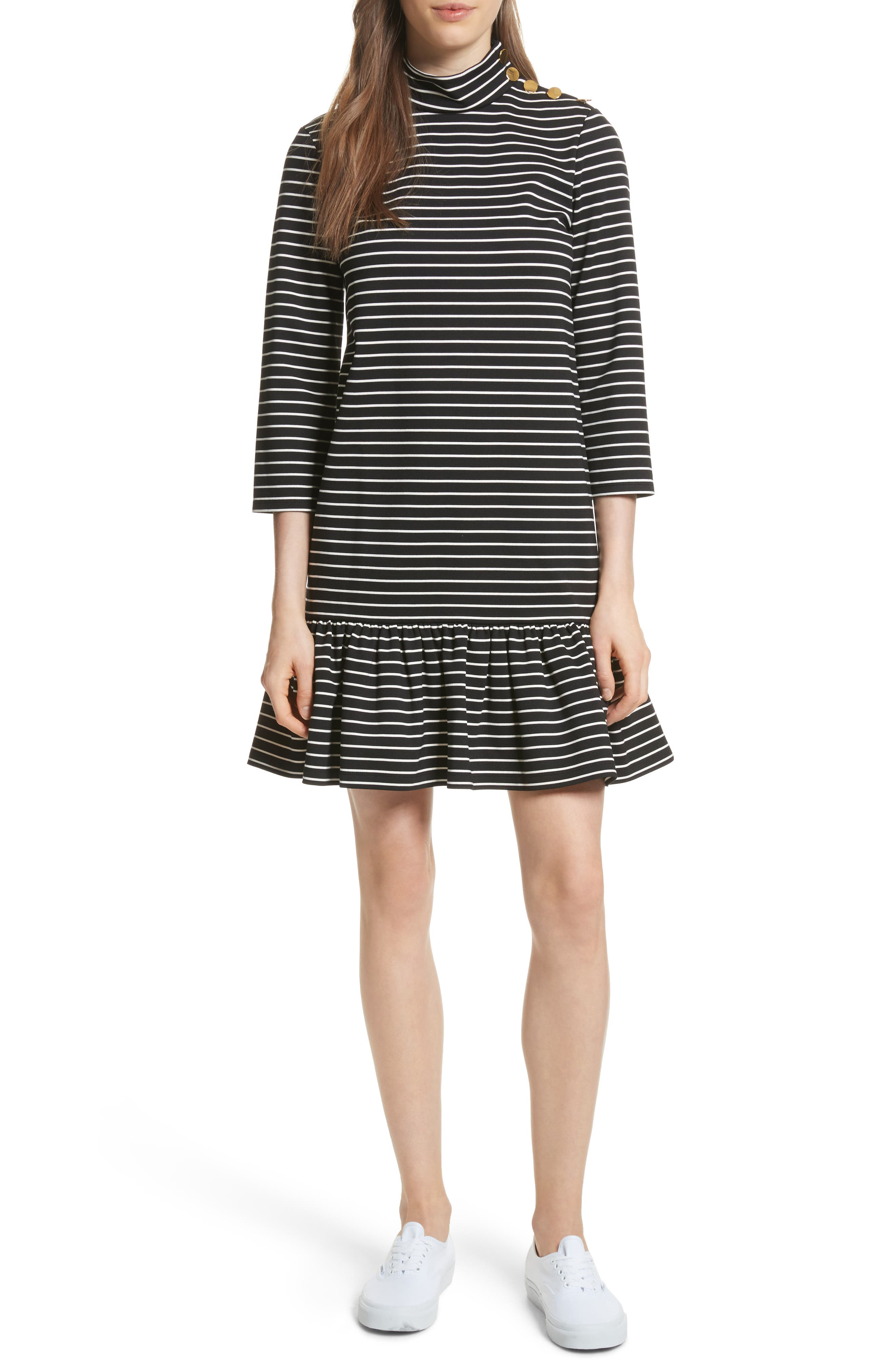 mock neck stripe knit dress,                             Main thumbnail 1, color,                             Black/ Off-White