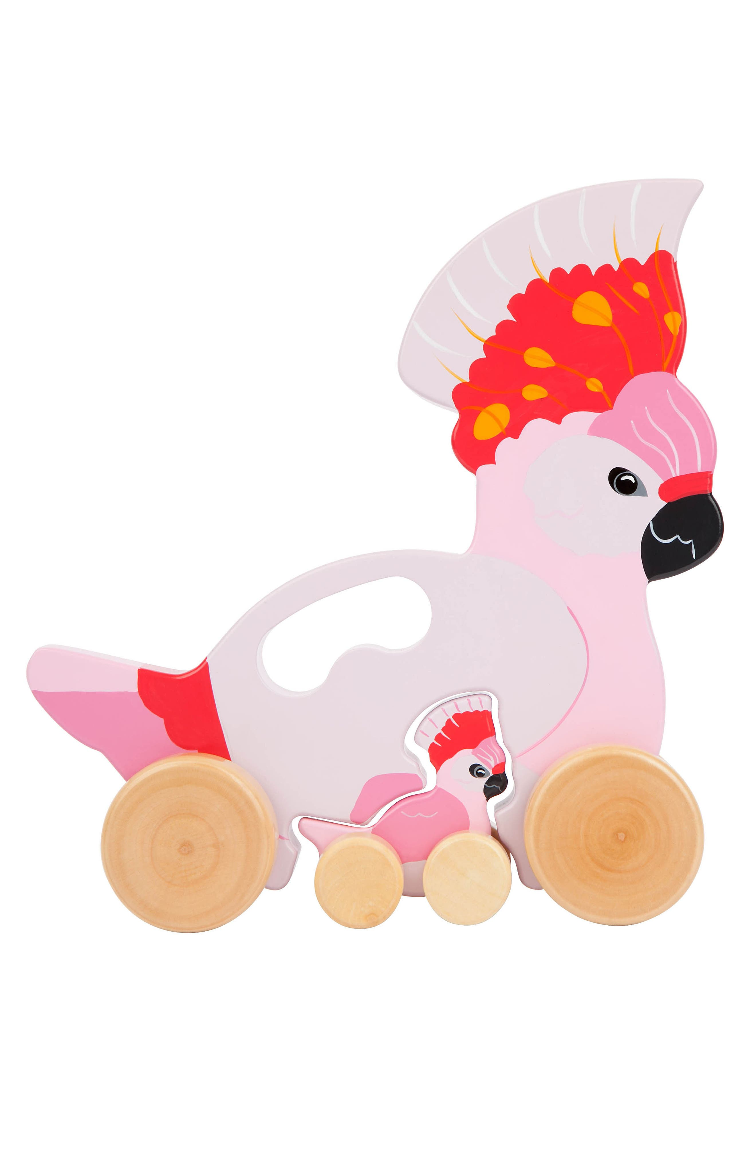 Set of 2 Medium Wheeled Nesting Birds Wooden Toys,                         Main,                         color, Pink