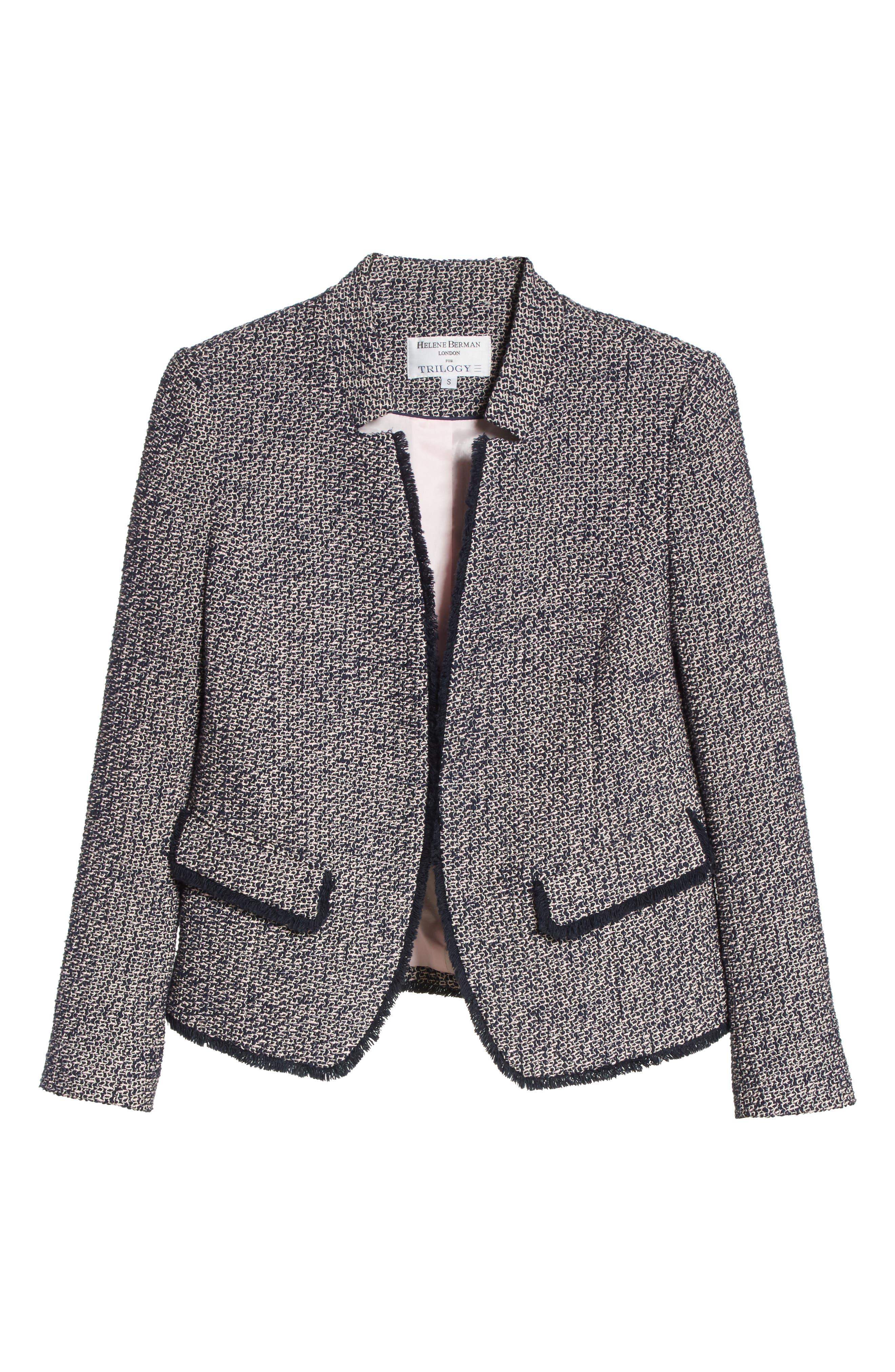 Notch Collar Tweed Jacket,                             Alternate thumbnail 6, color,                             Navy/ Pink