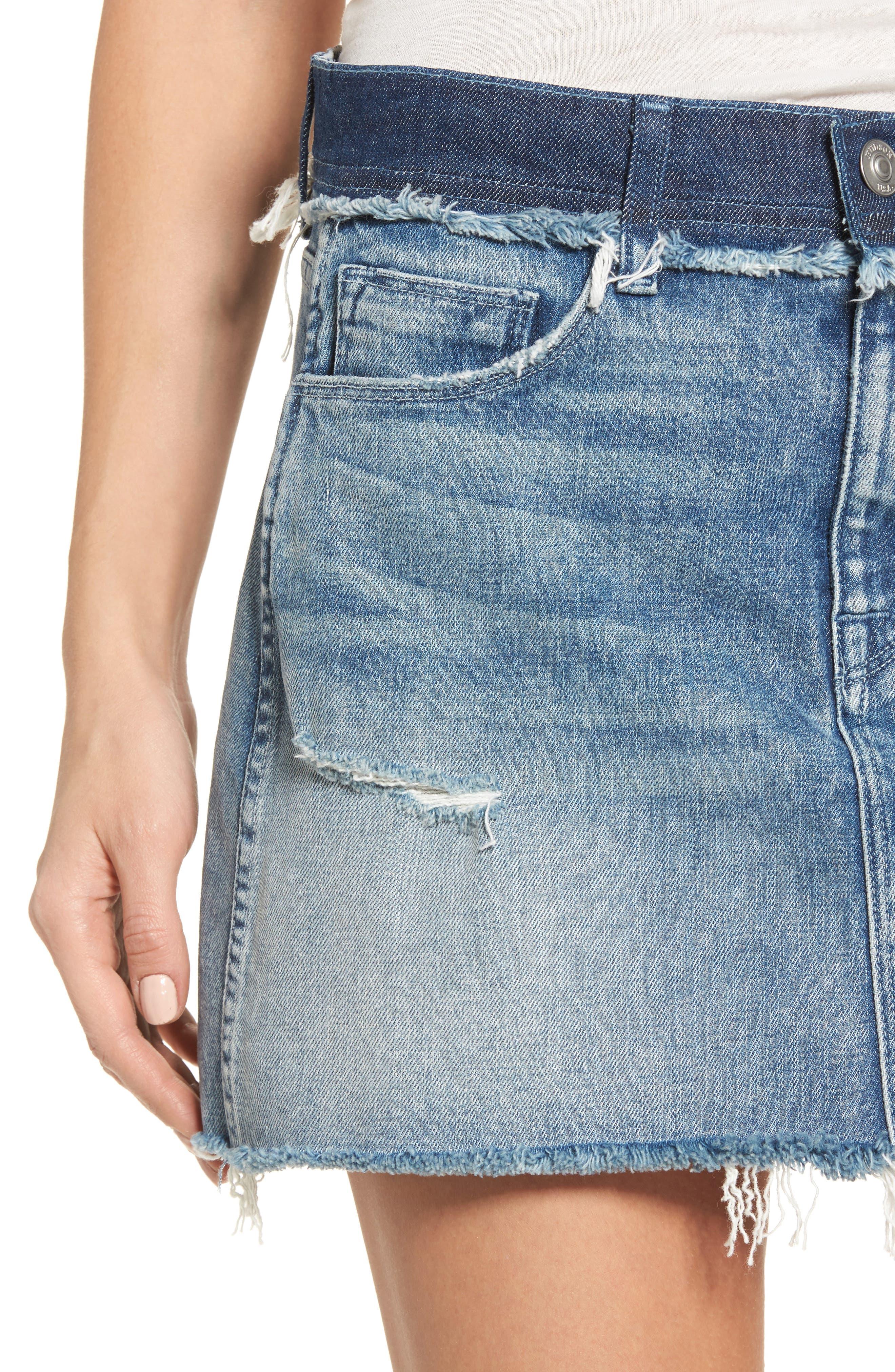 Vivid Cutoff Denim Miniskirt,                             Alternate thumbnail 4, color,                             Rock Steady