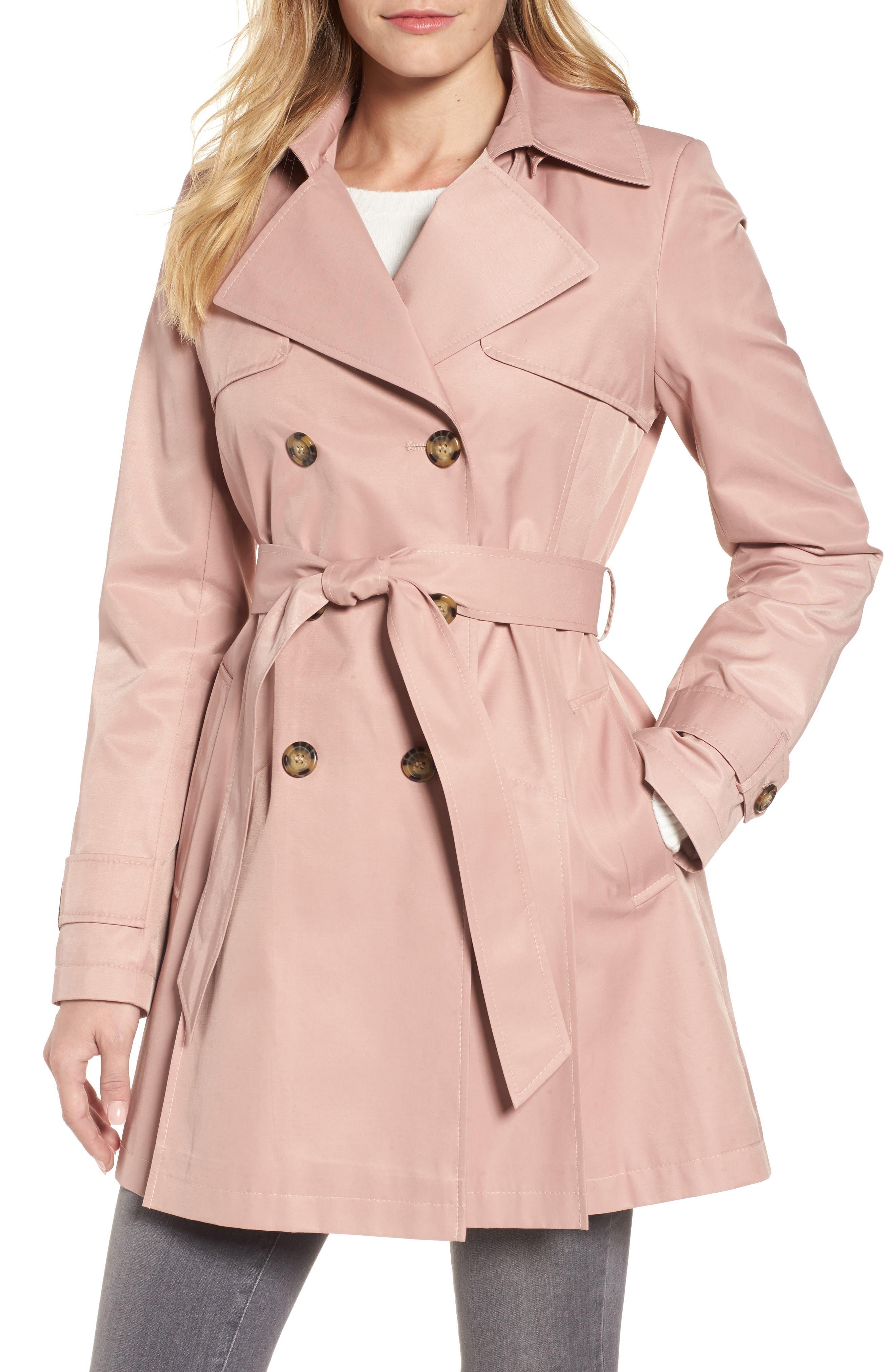 Detachable Hood Trench Coat,                         Main,                         color, Blush