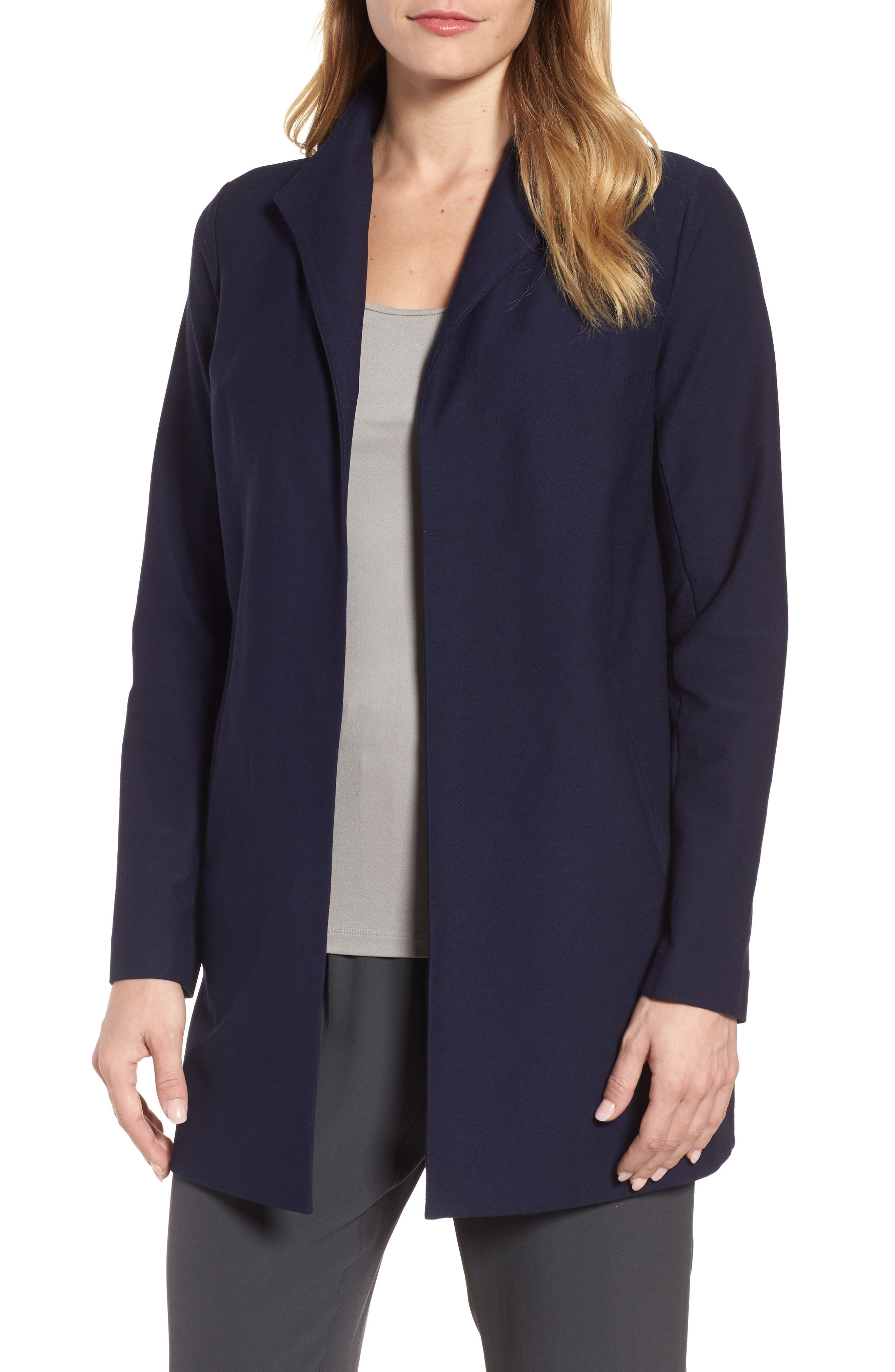 Long Knit Jacket,                         Main,                         color, Midnight