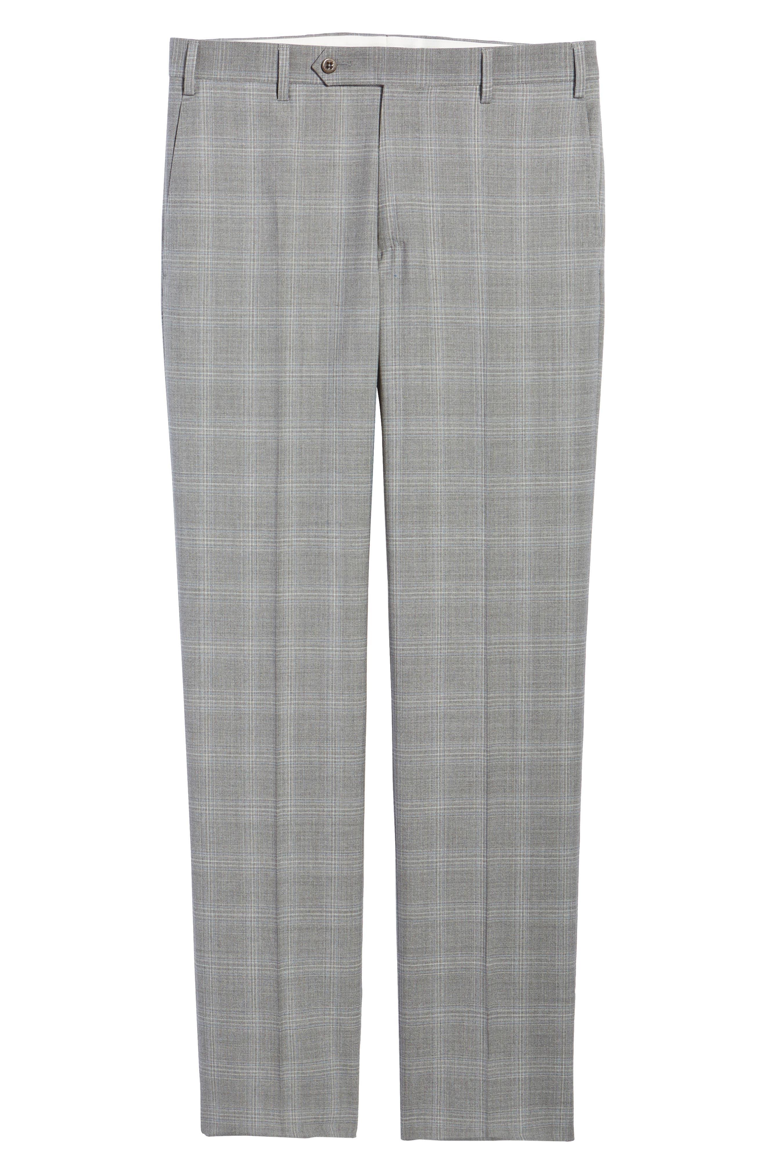 Devon Flat Front Plaid Wool Trousers,                             Alternate thumbnail 6, color,                             Light Grey
