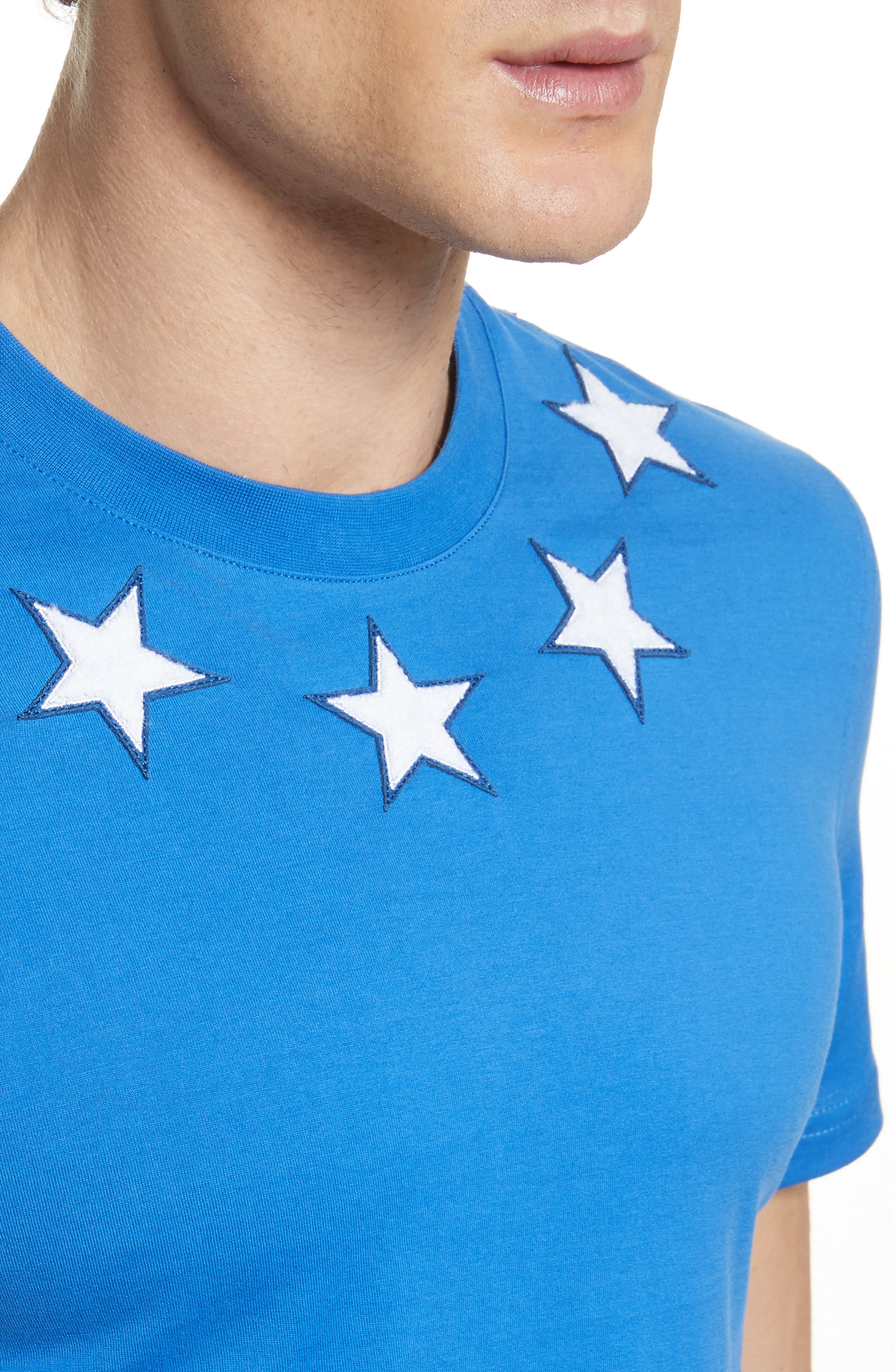 Star Appliqué T-Shirt,                             Alternate thumbnail 4, color,                             Blue