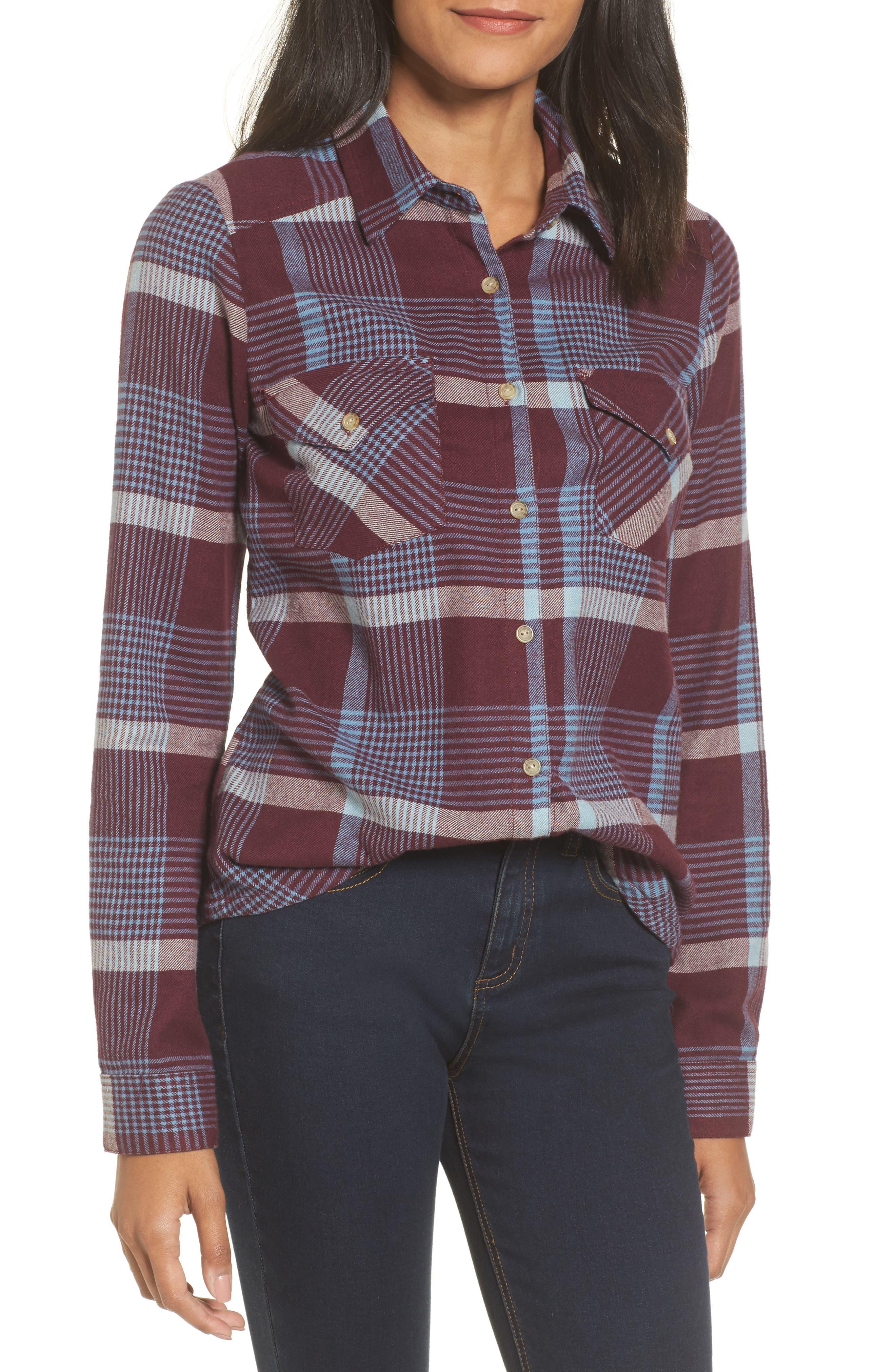 Plaid Flannel Shirt,                             Main thumbnail 1, color,                             Wine Tasting