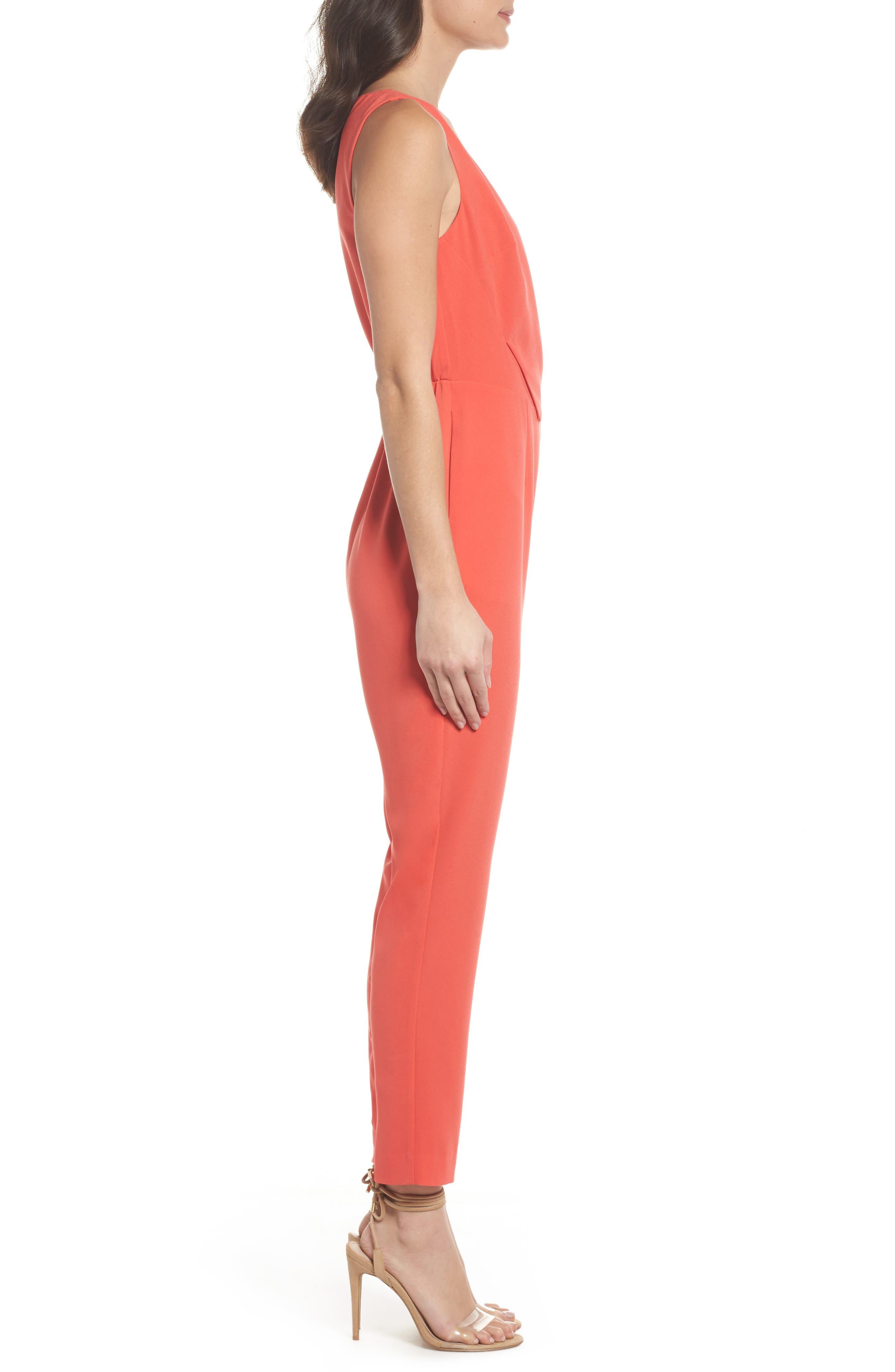 Asymmetrical Pleat Jumpsuit,                             Alternate thumbnail 4, color,                             Coral