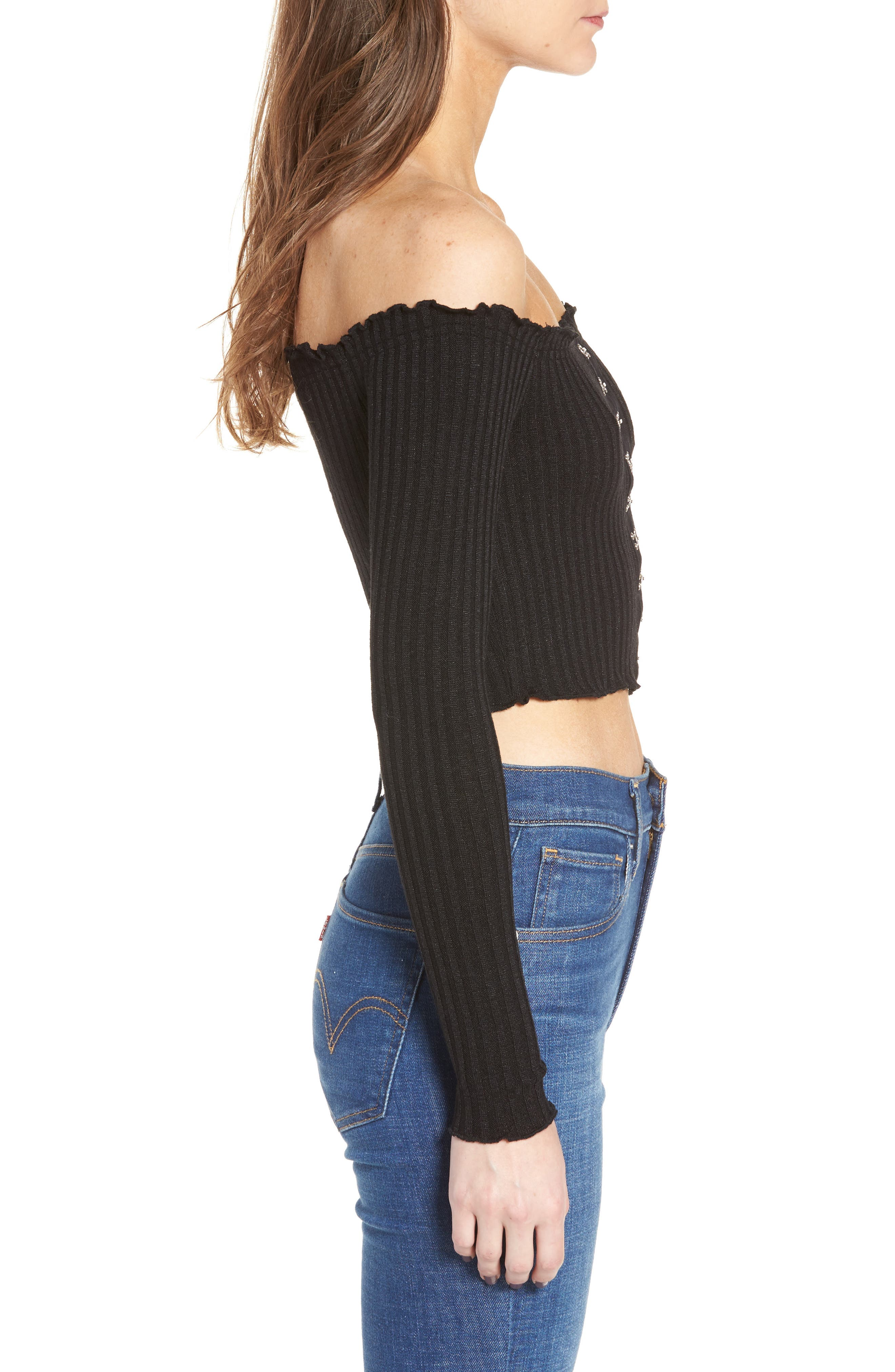 Ribbed Off the Shoulder Top,                             Alternate thumbnail 3, color,                             Black