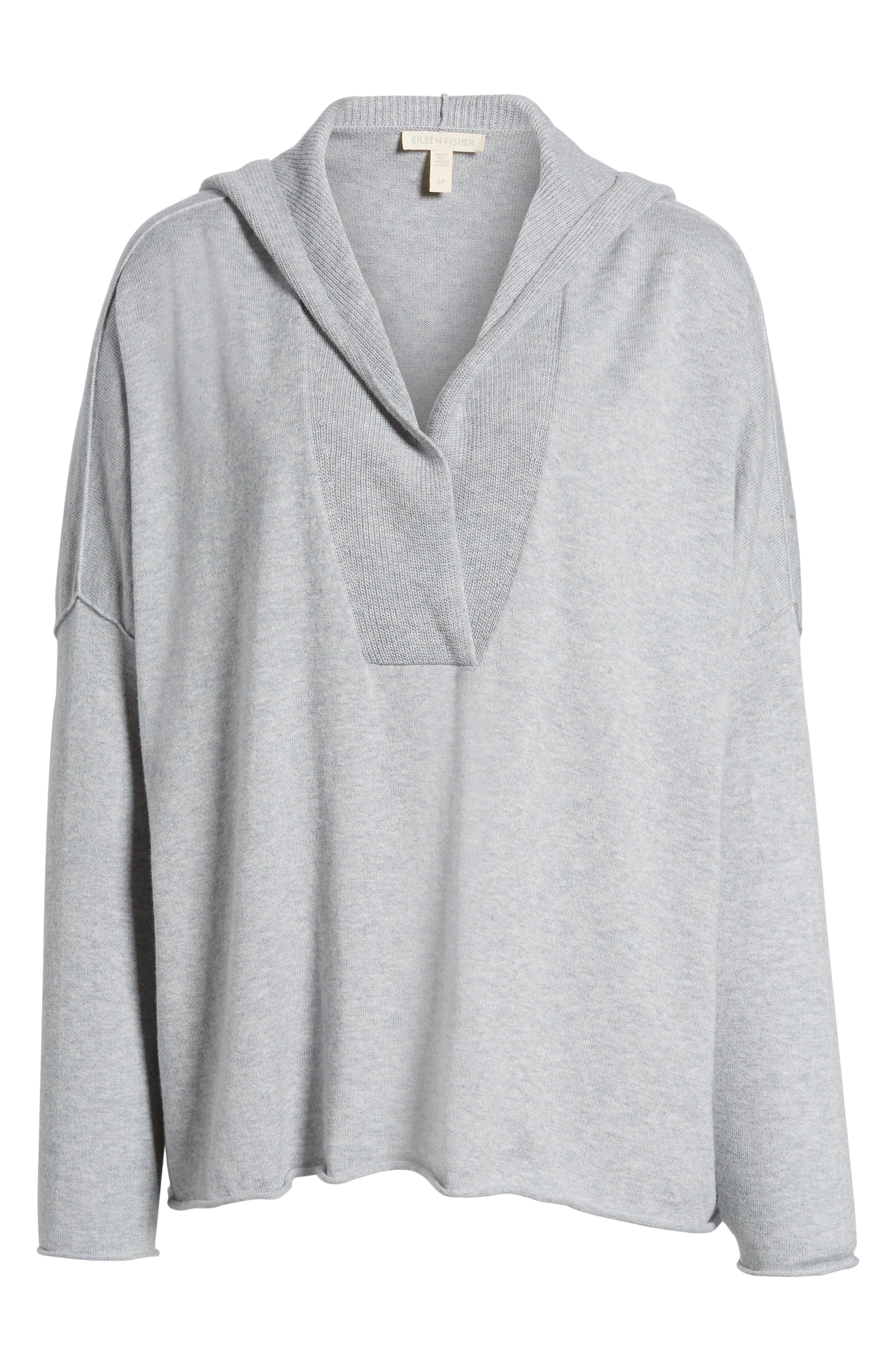 Alternate Image 6  - Eileen Fisher Hooded Organic Cotton Box Sweater
