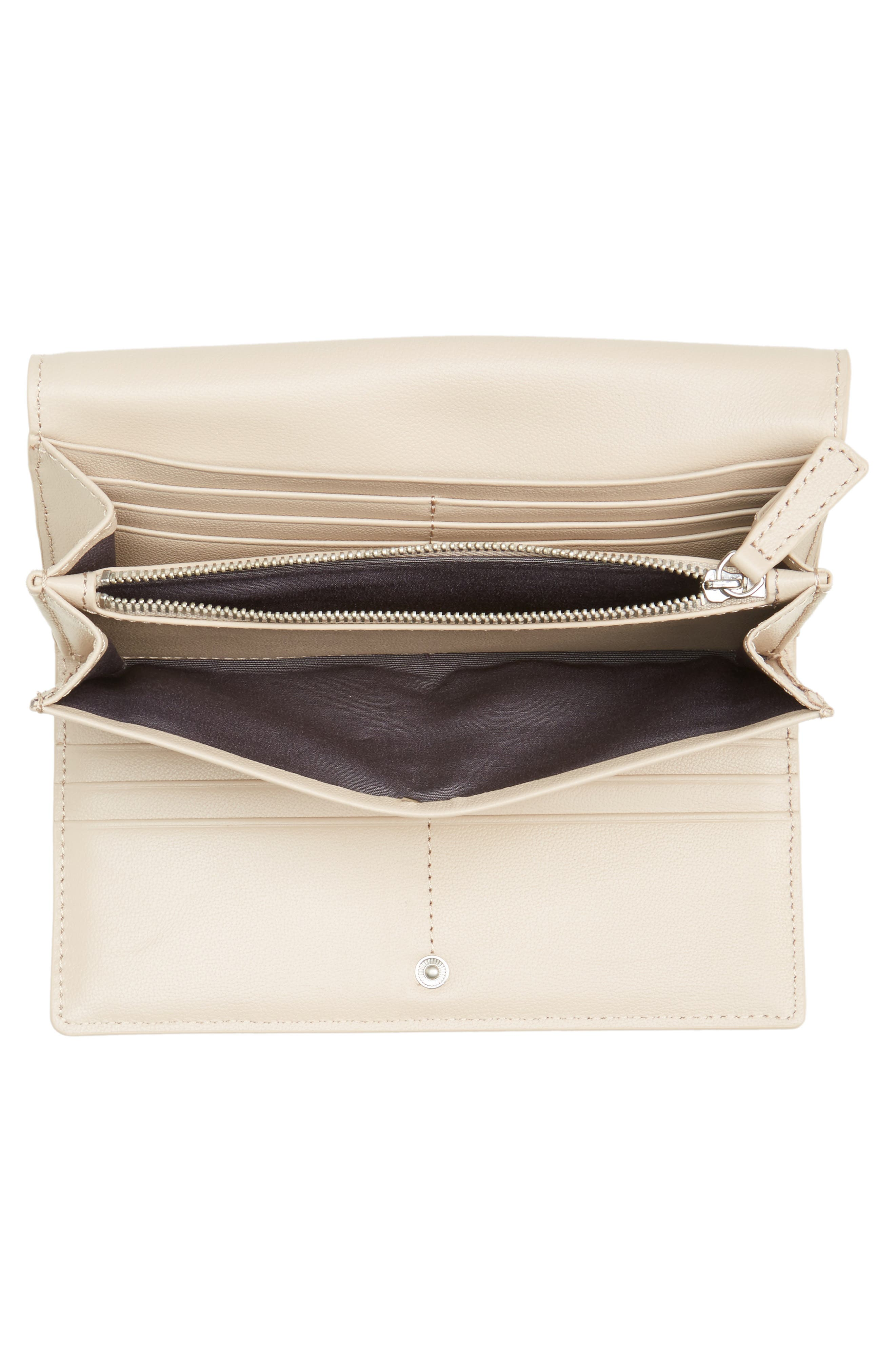 Leather Continental Wallet,                             Alternate thumbnail 2, color,                             Beige Morn