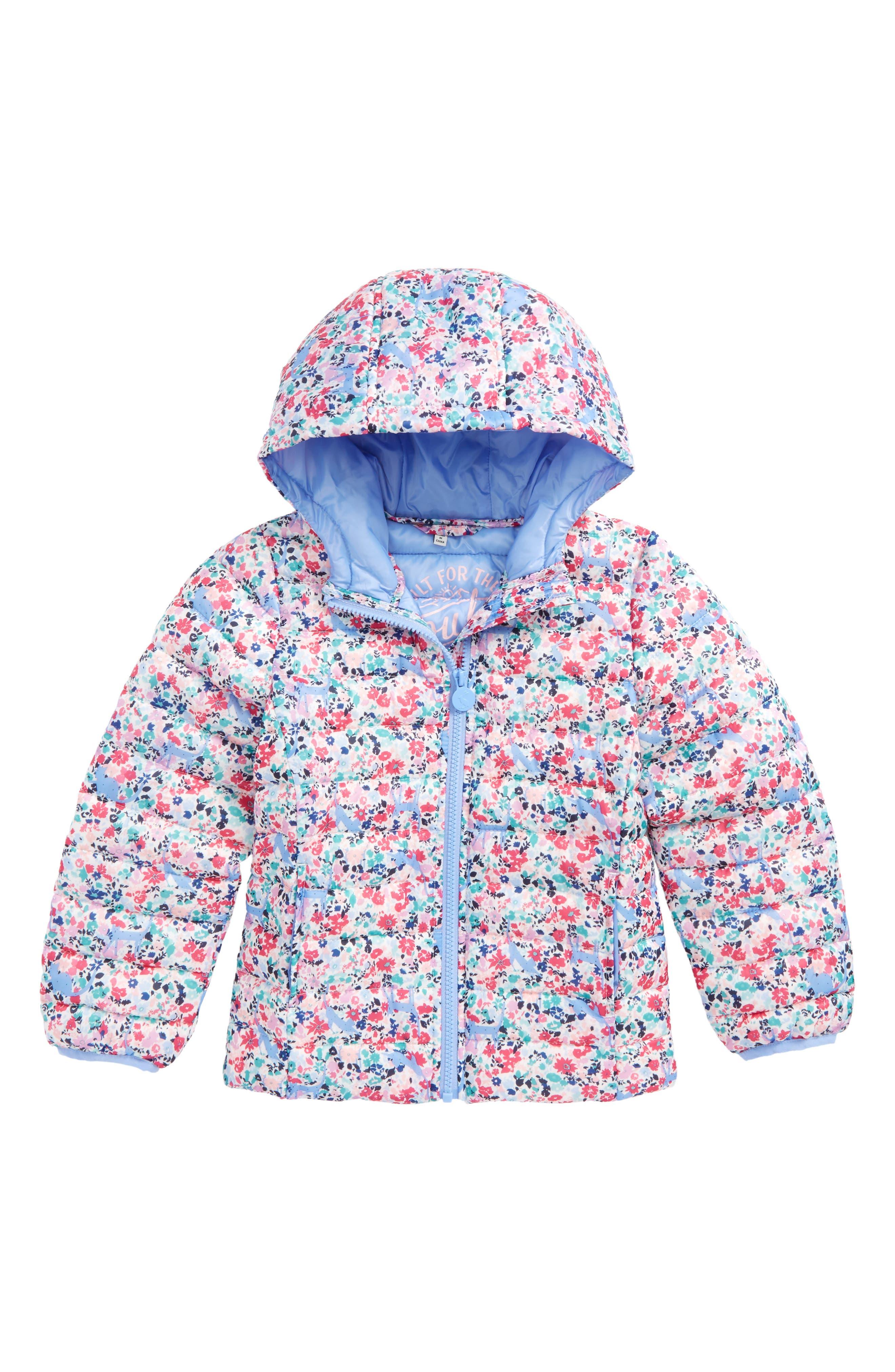 Main Image - Joules Print Packaway Hooded Jacket (Toddler Girls & Little Girls)