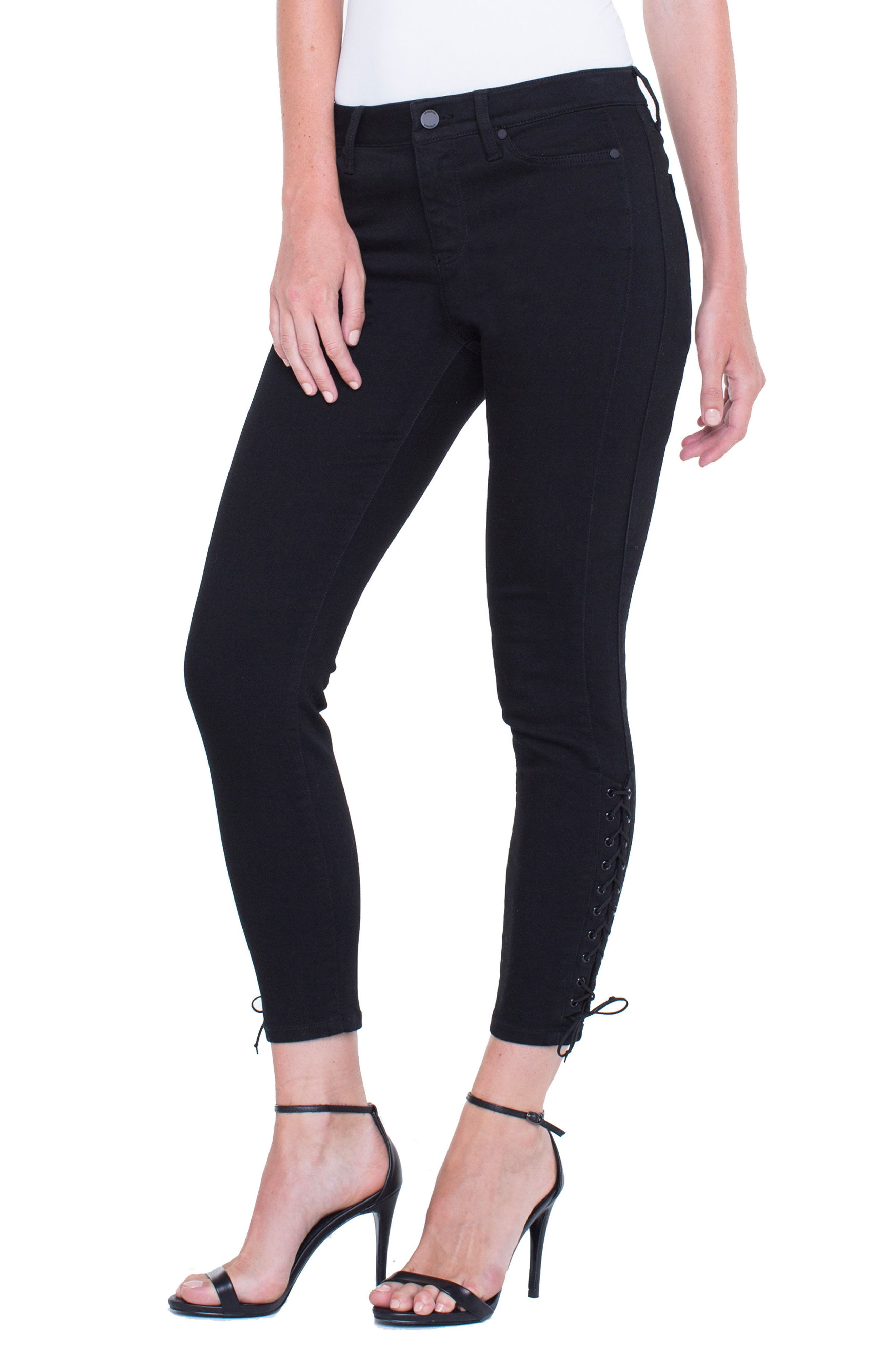 Alyssa Lace-Up Crop Skinny Jeans,                             Alternate thumbnail 5, color,                             Black Rinse
