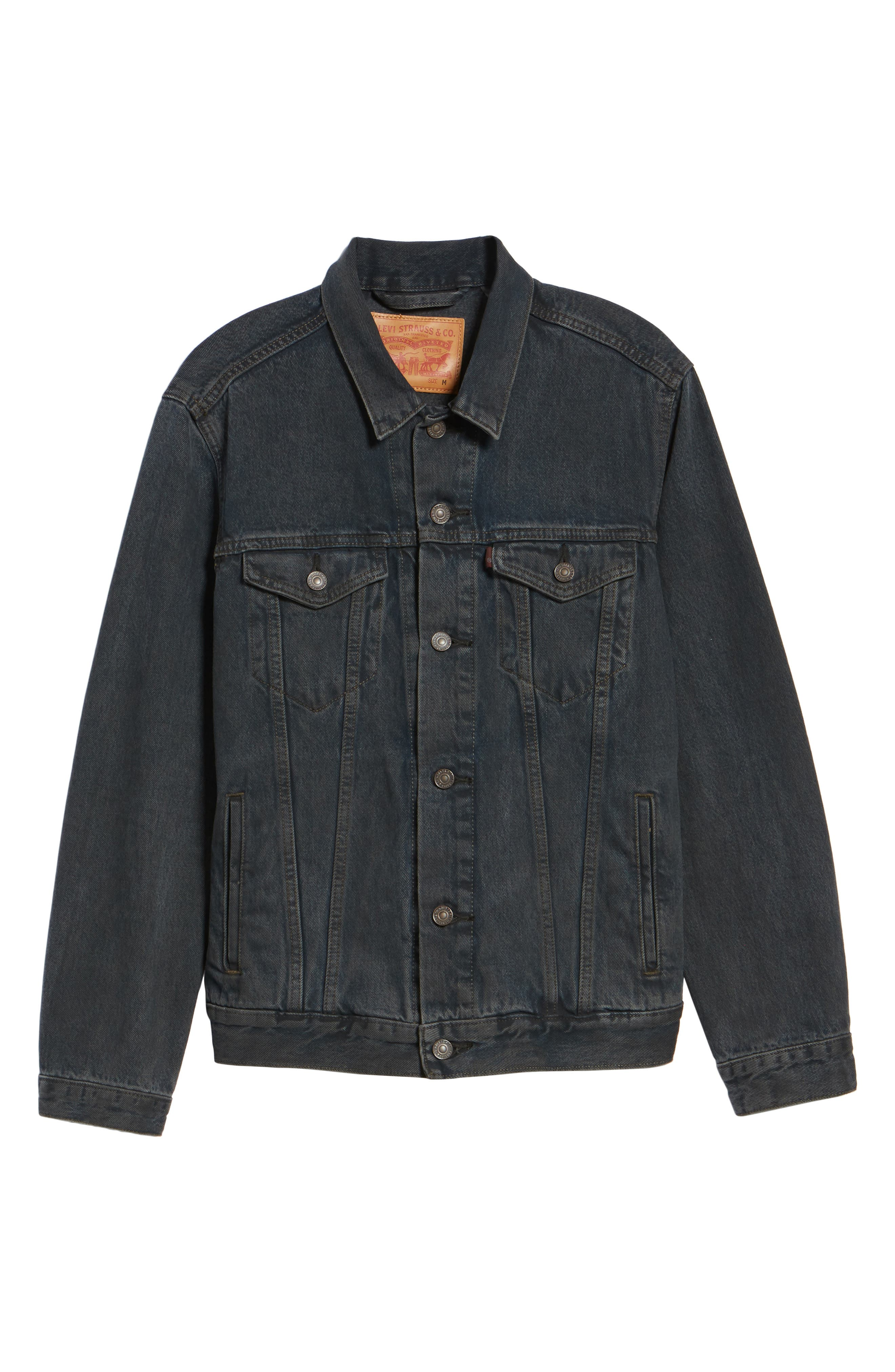 Trucker Denim Jacket,                             Alternate thumbnail 6, color,                             Grey Od