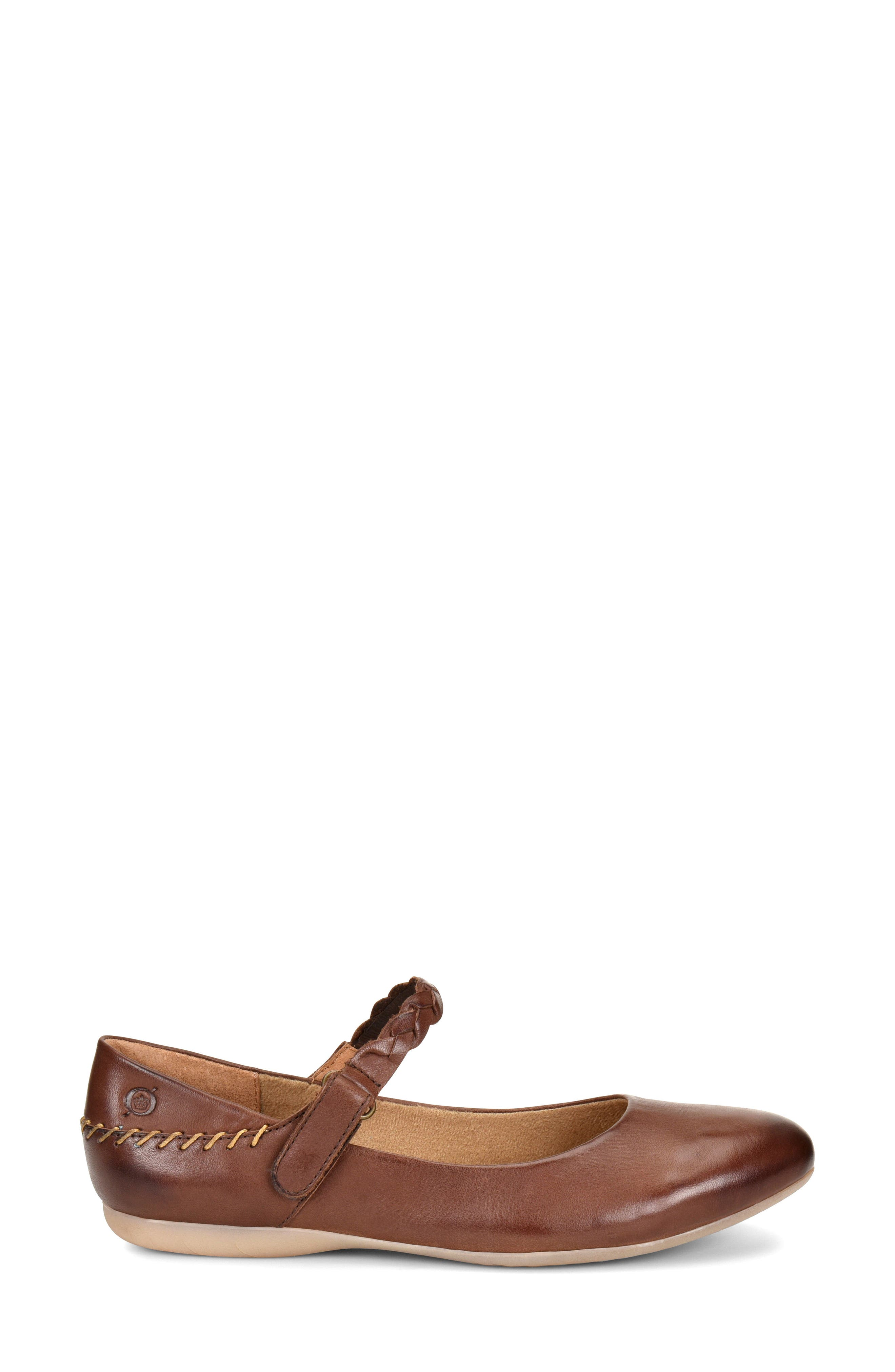 Mary Jane Flat,                             Alternate thumbnail 3, color,                             Brown Leather
