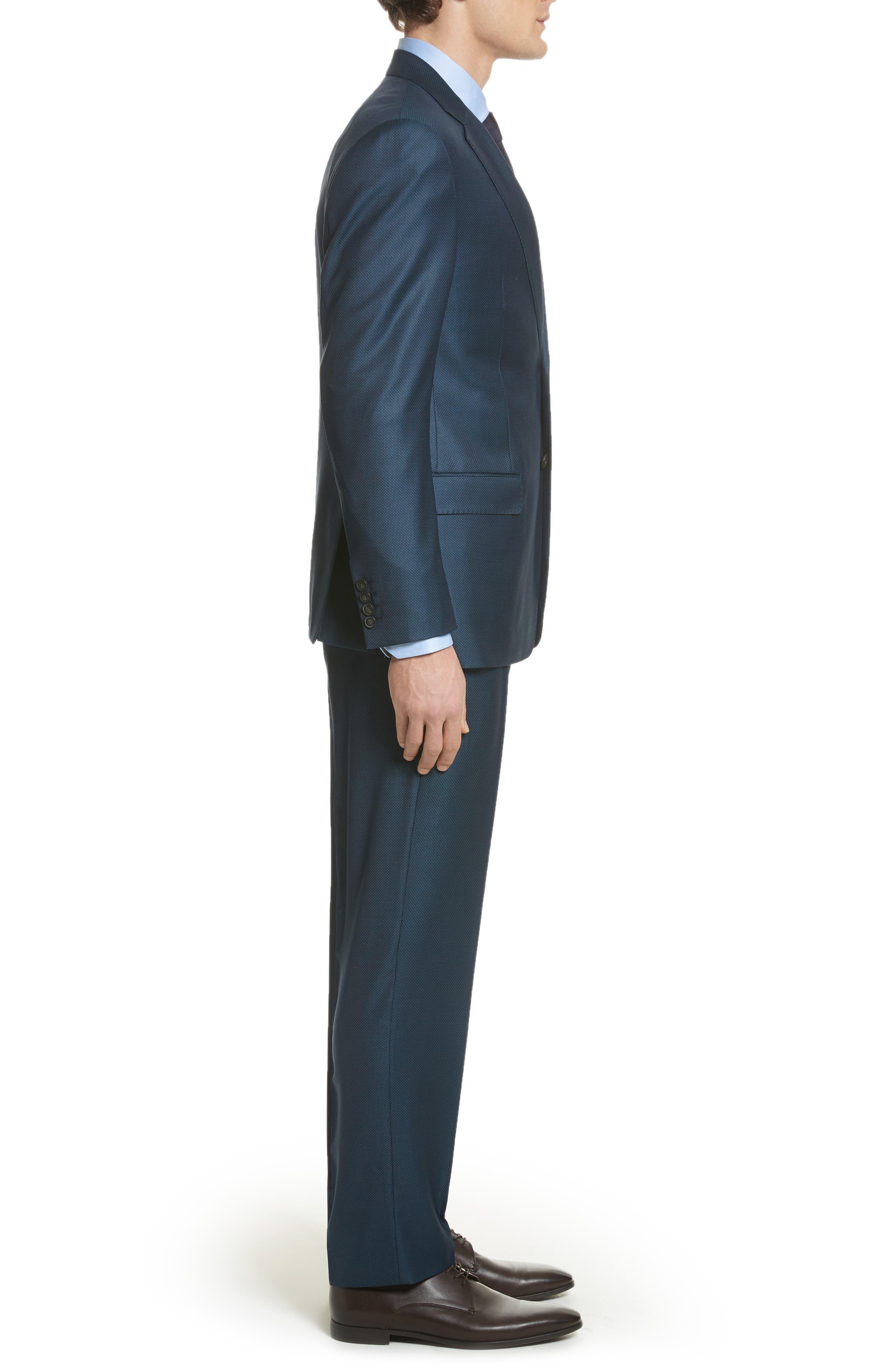G-Line Trim Fit Solid Wool Suit,                             Alternate thumbnail 3, color,                             Blue