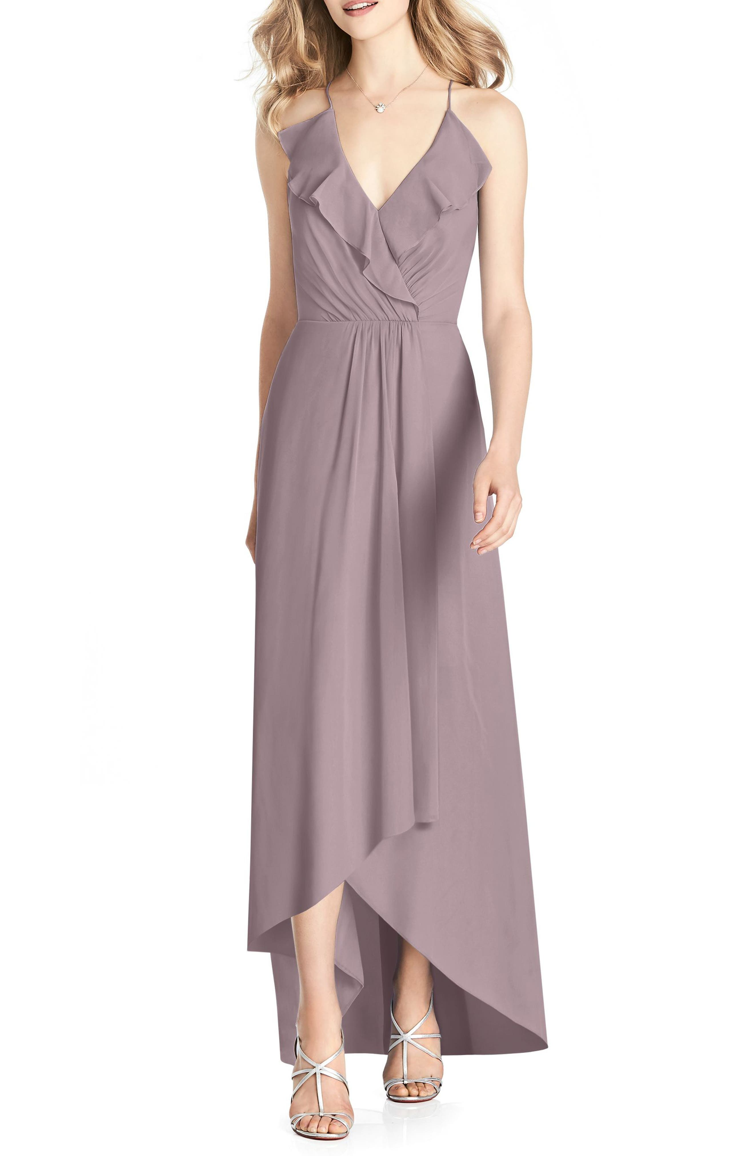 Ruffle Neck Chiffon Gown,                         Main,                         color, Dusty Rose