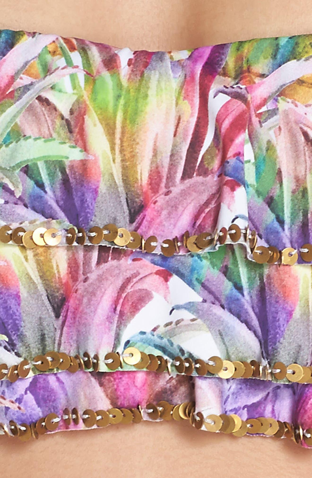 Sequin Ruffle Bandeau Bikini Top,                             Alternate thumbnail 8, color,                             Lanai