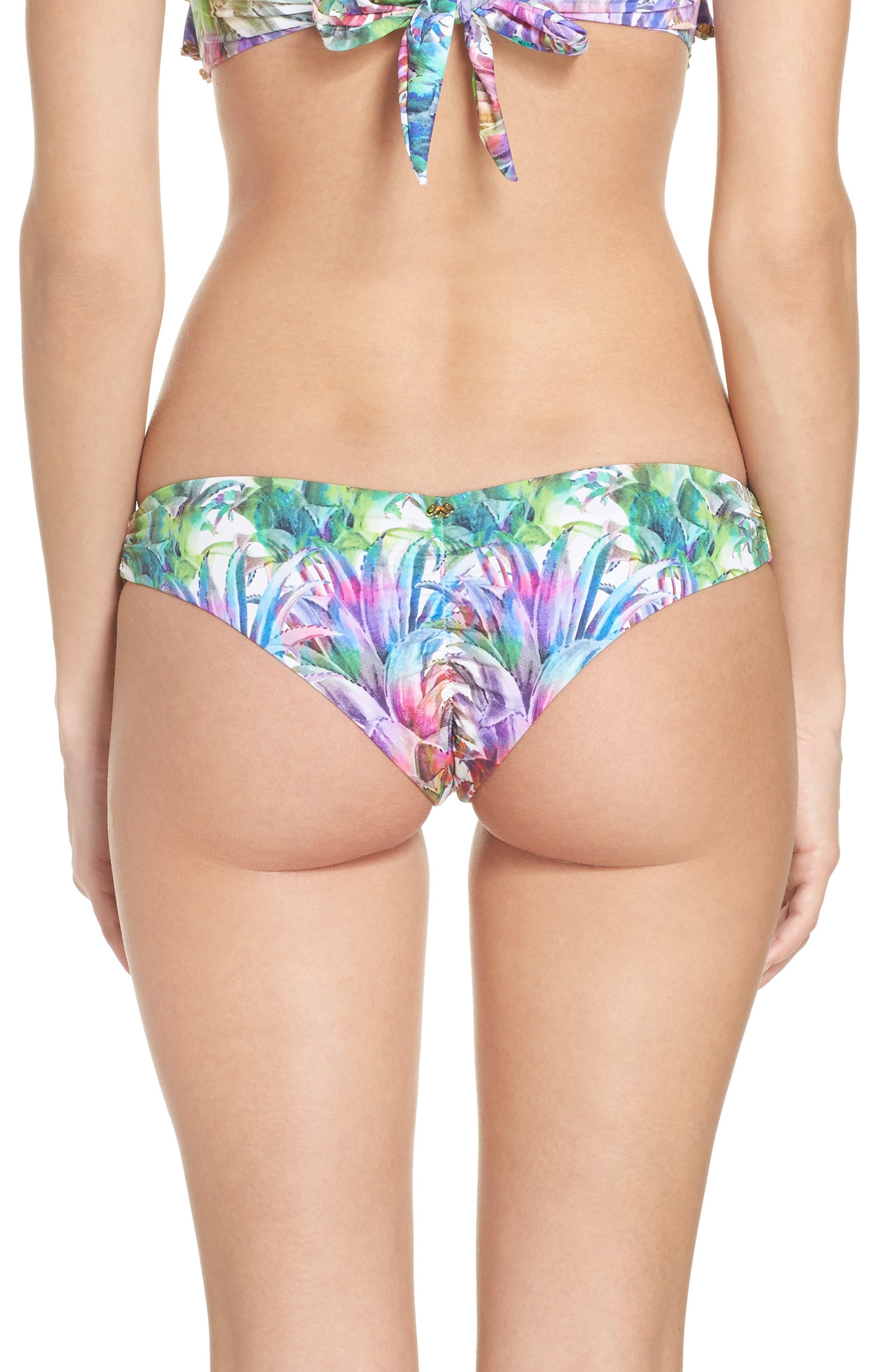 Ruched Teeny Bikini Bottoms,                             Alternate thumbnail 2, color,                             Lanai