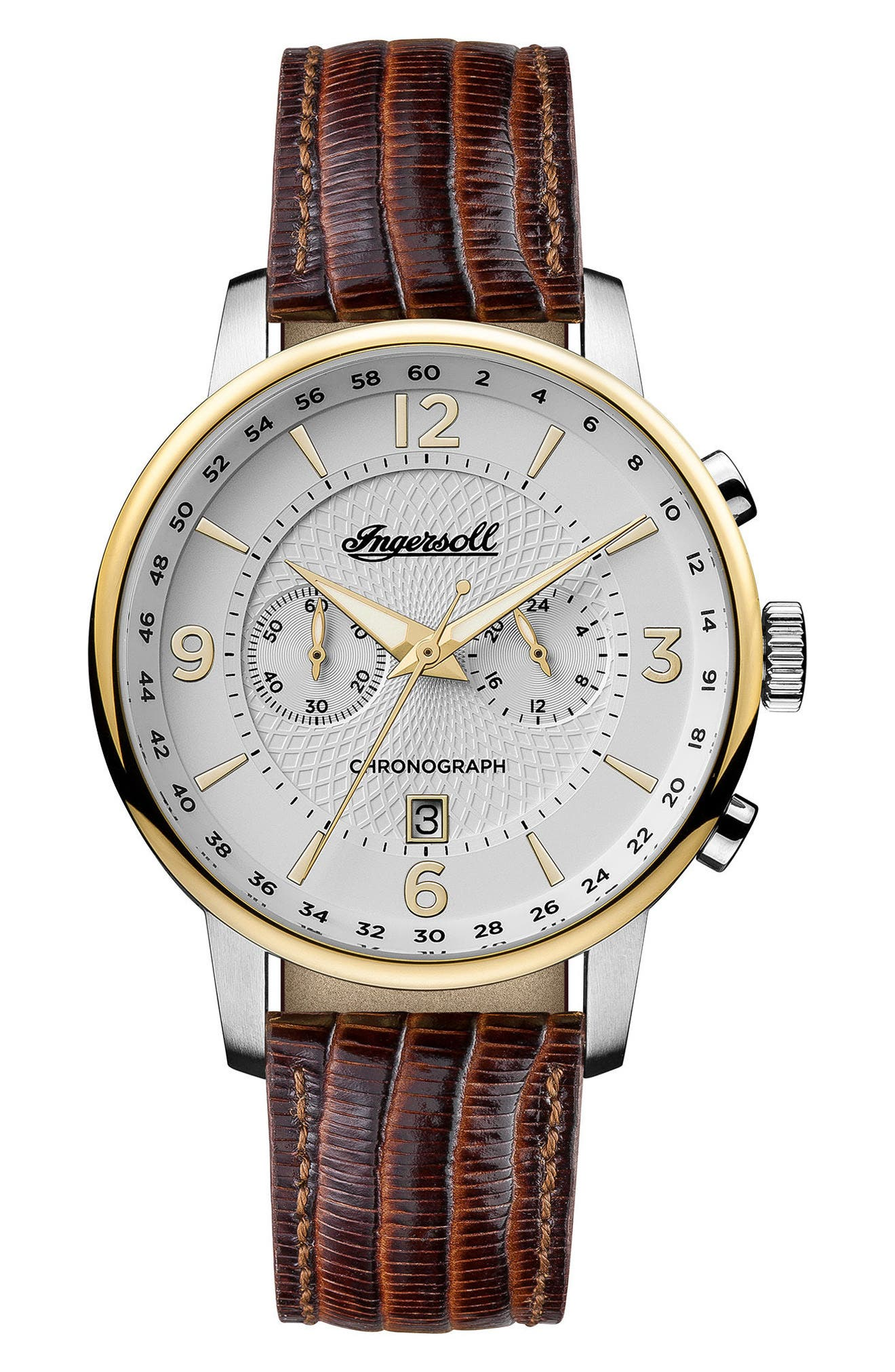 Ingersoll Grafton Chronograph Leather Strap Watch, 42mm,                             Main thumbnail 1, color,                             Brown/ White/ Gold