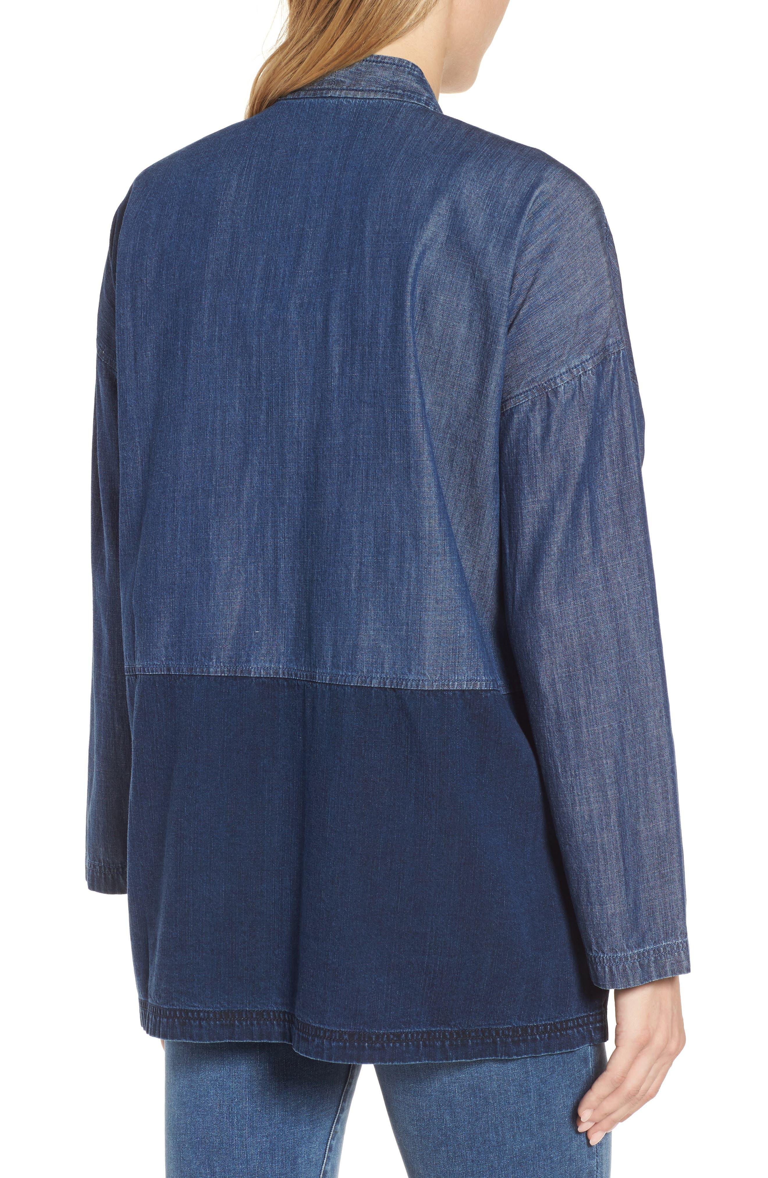 Denim Kimono Jacket,                             Alternate thumbnail 2, color,                             Midnight
