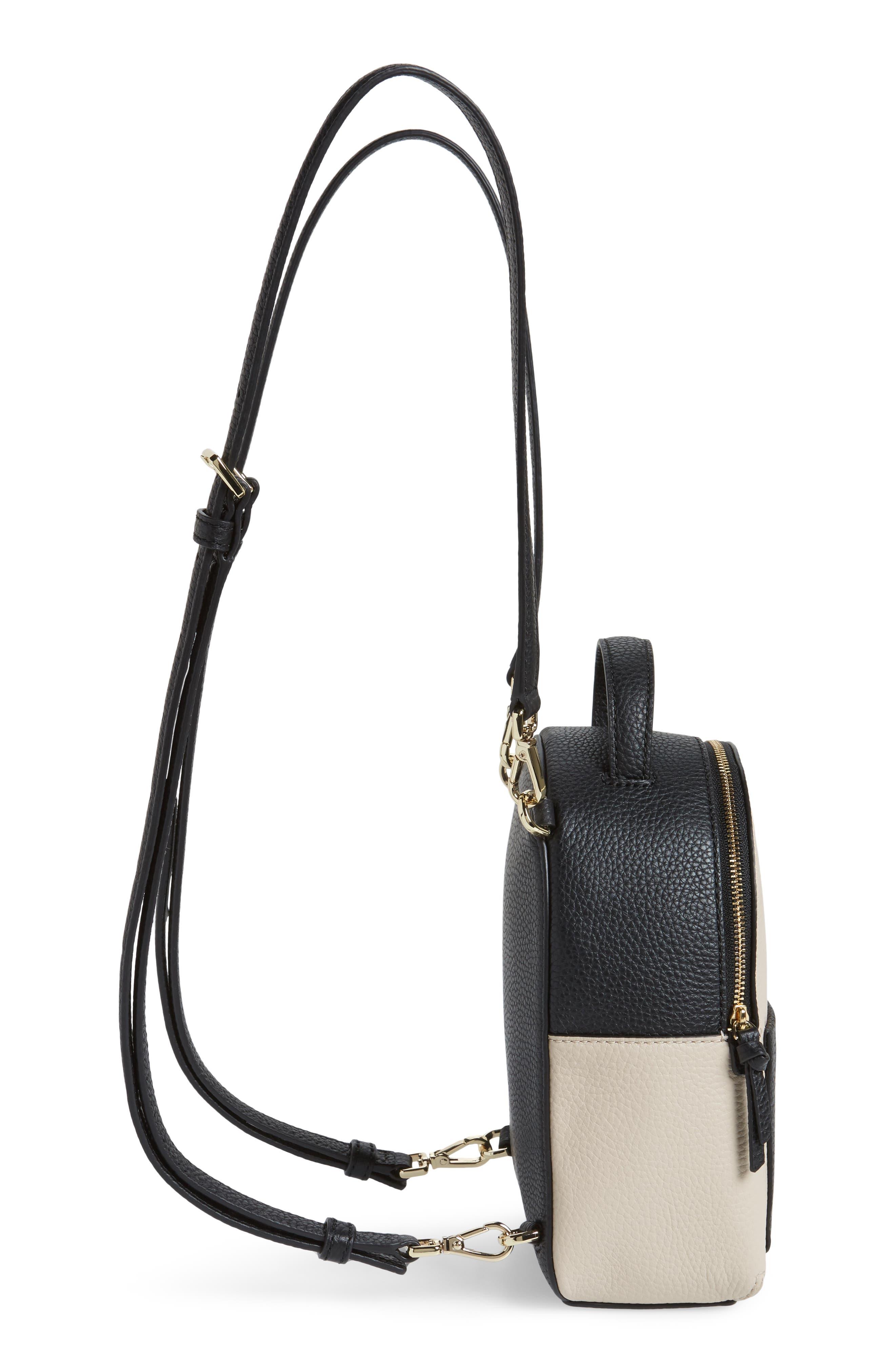 jackson street merry convertible leather backpack,                             Alternate thumbnail 5, color,                             Black/ Soft Porcelain