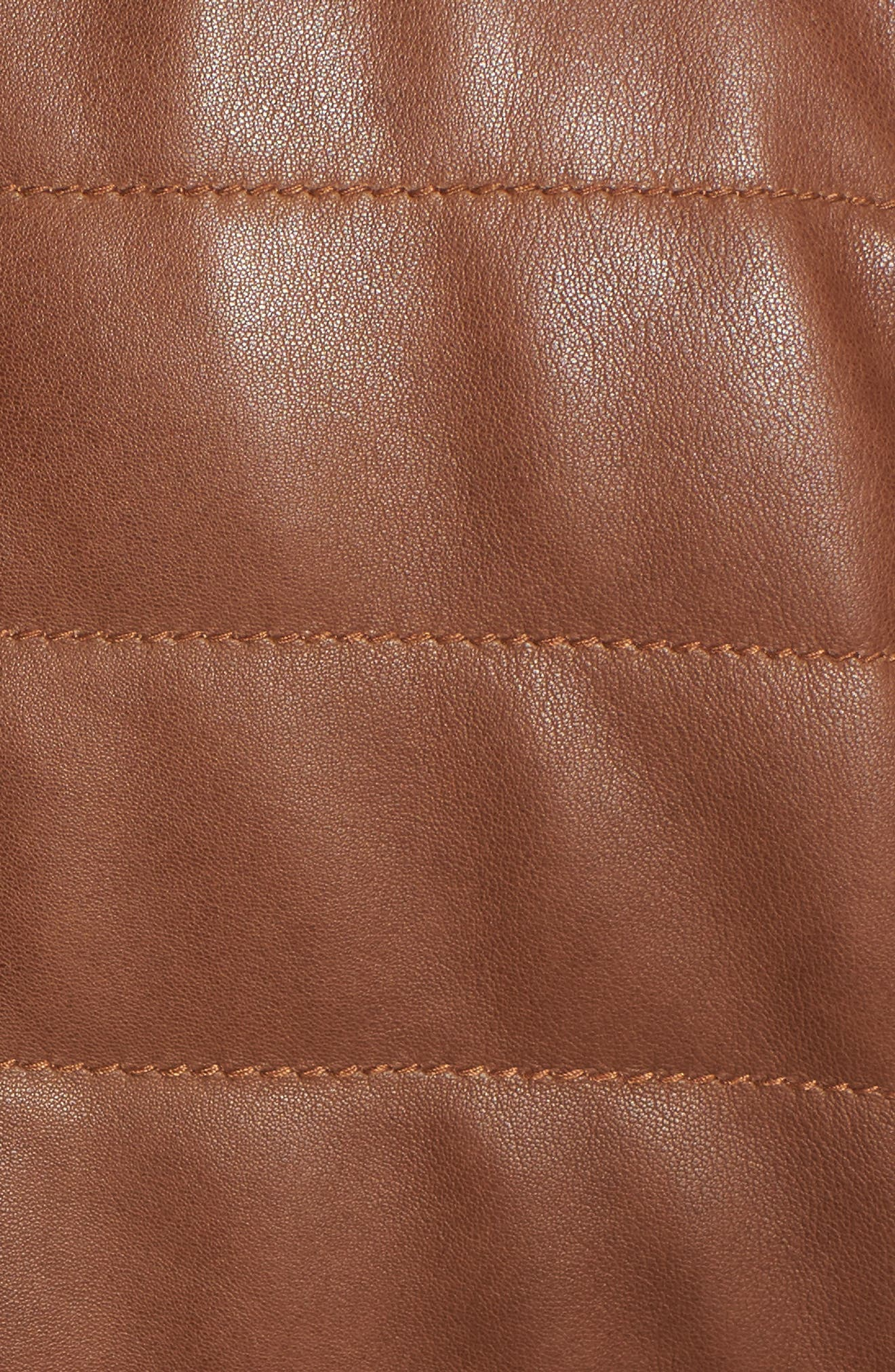 Snowside Leather Bomber Jacket,                             Alternate thumbnail 5, color,                             Brown Enough