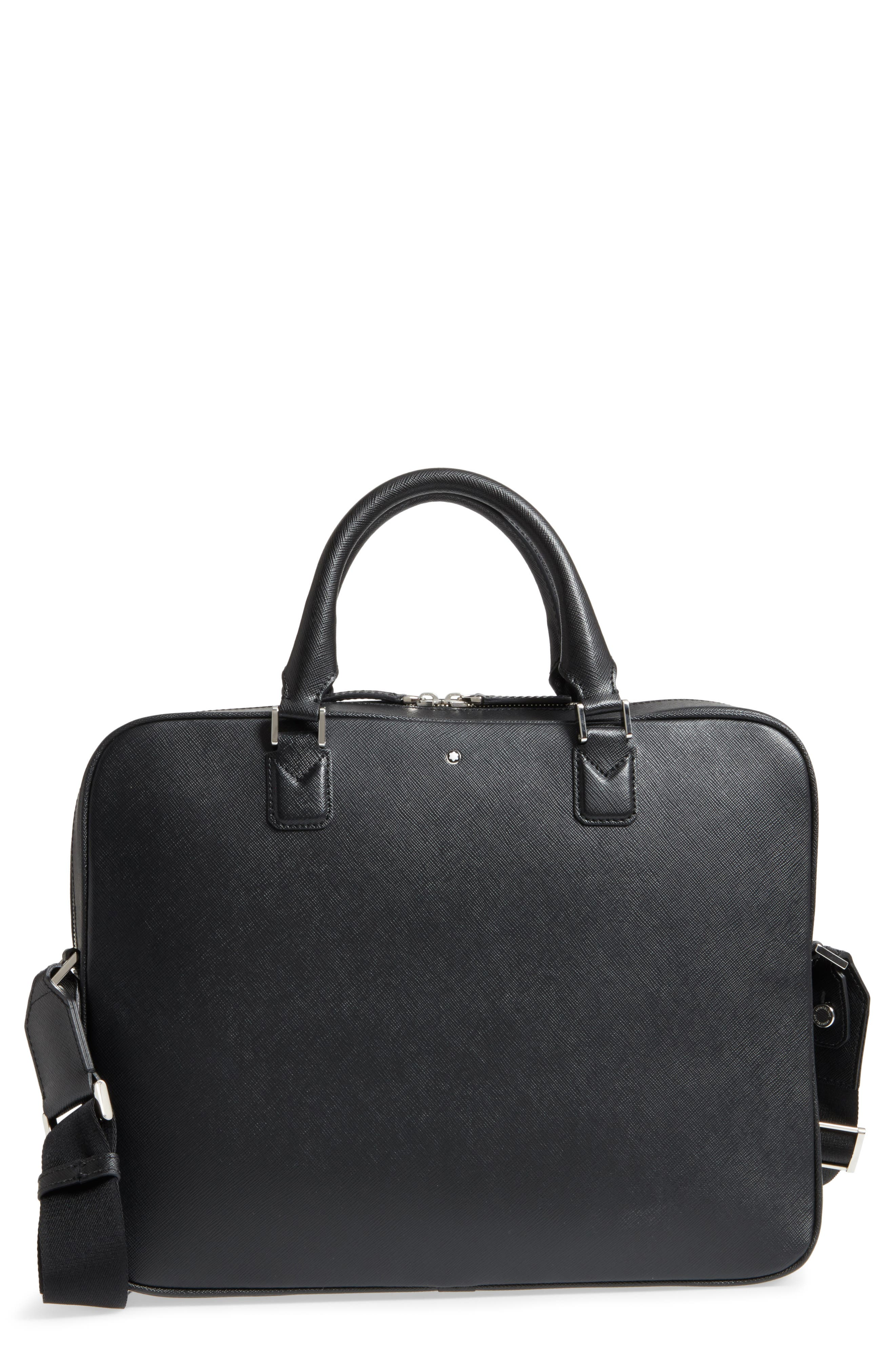Sartorial Leather Briefcase,                             Main thumbnail 1, color,                             Black
