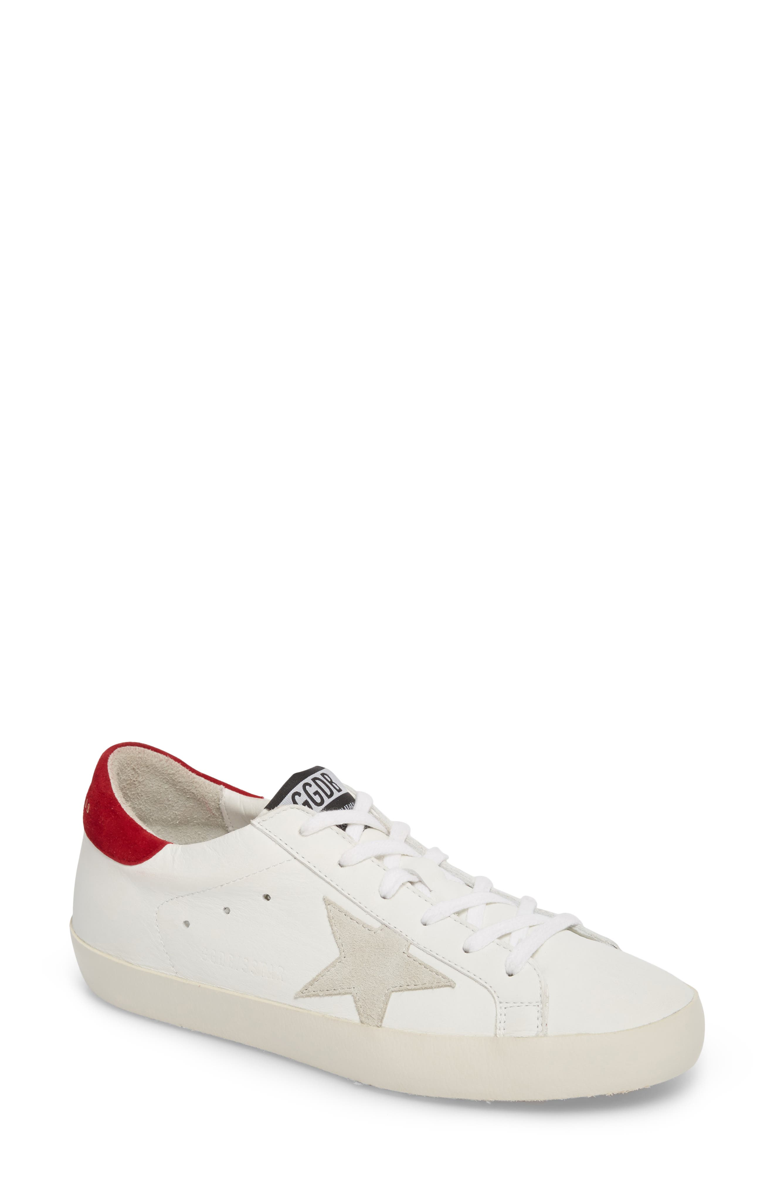 Superstar Low Top Sneaker,                         Main,                         color, White/ Bordeaux
