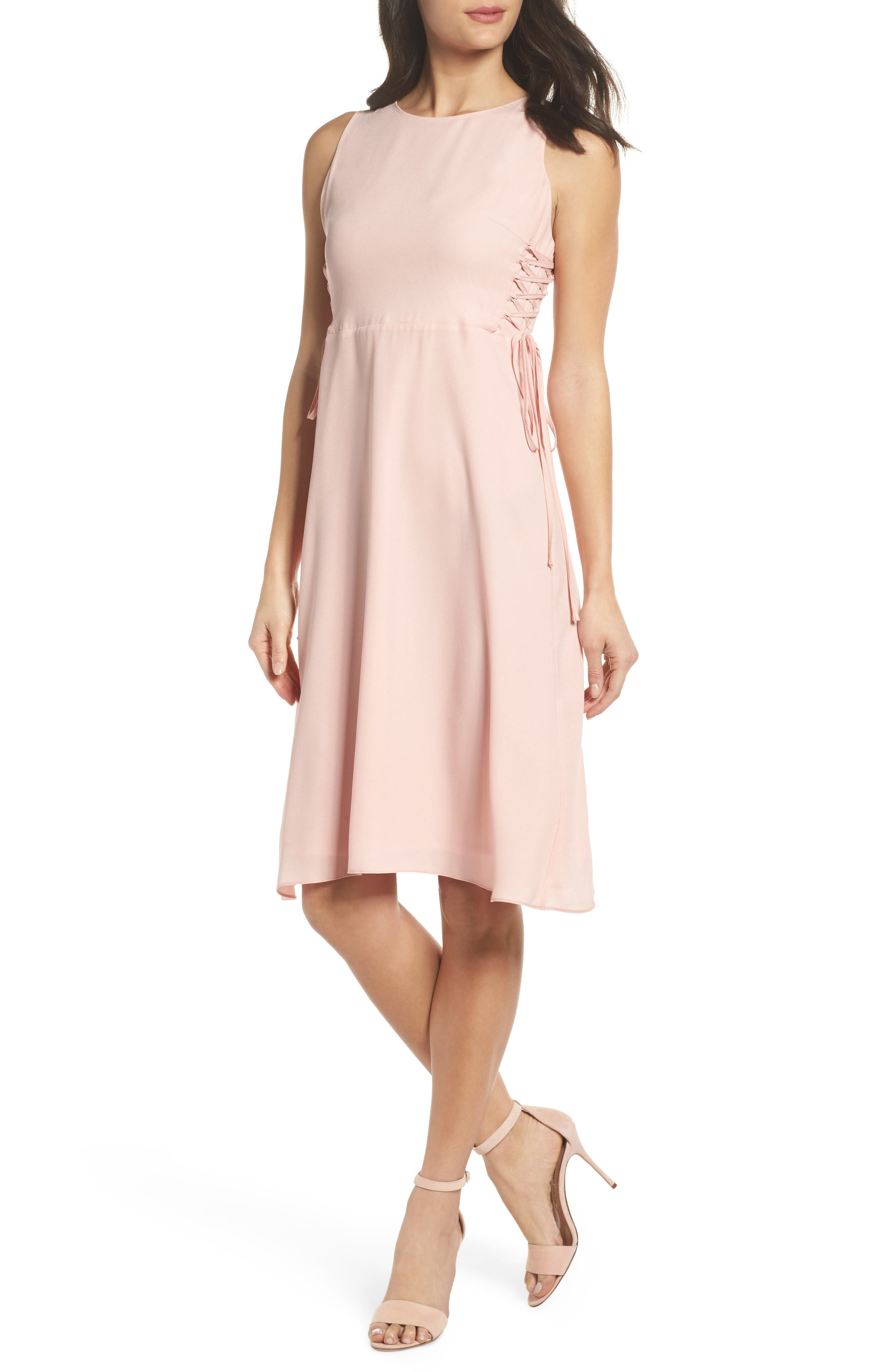 Lace-Up Midi Dress,                         Main,                         color, Blush