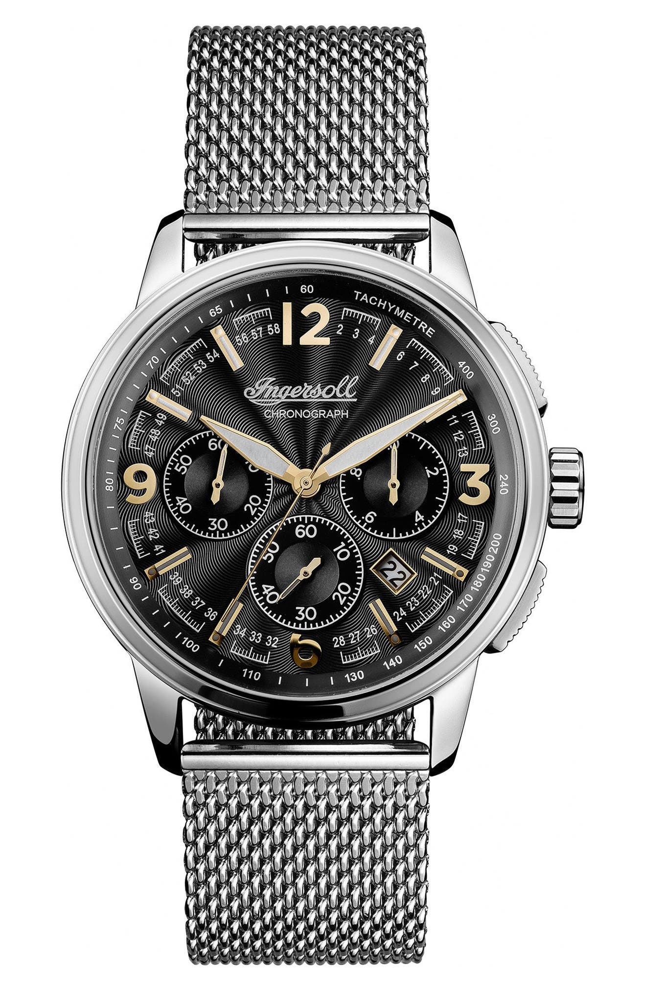 Ingersoll Regent Chronograph Mesh Strap Watch, 47mm,                         Main,                         color, Silver/ Black/ Silver