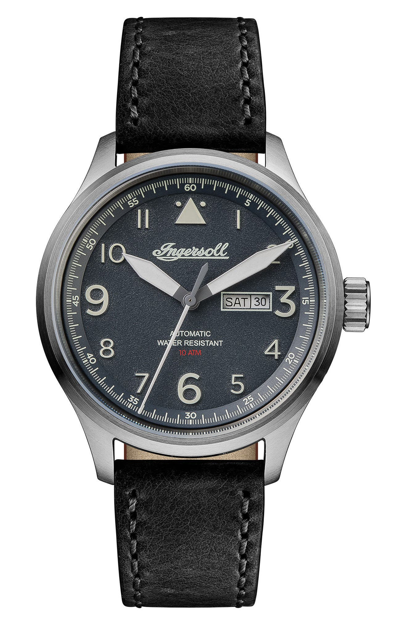 Ingersoll Bateman Automatic Leather Strap Watch, 45mm,                         Main,                         color, Black/ Silver