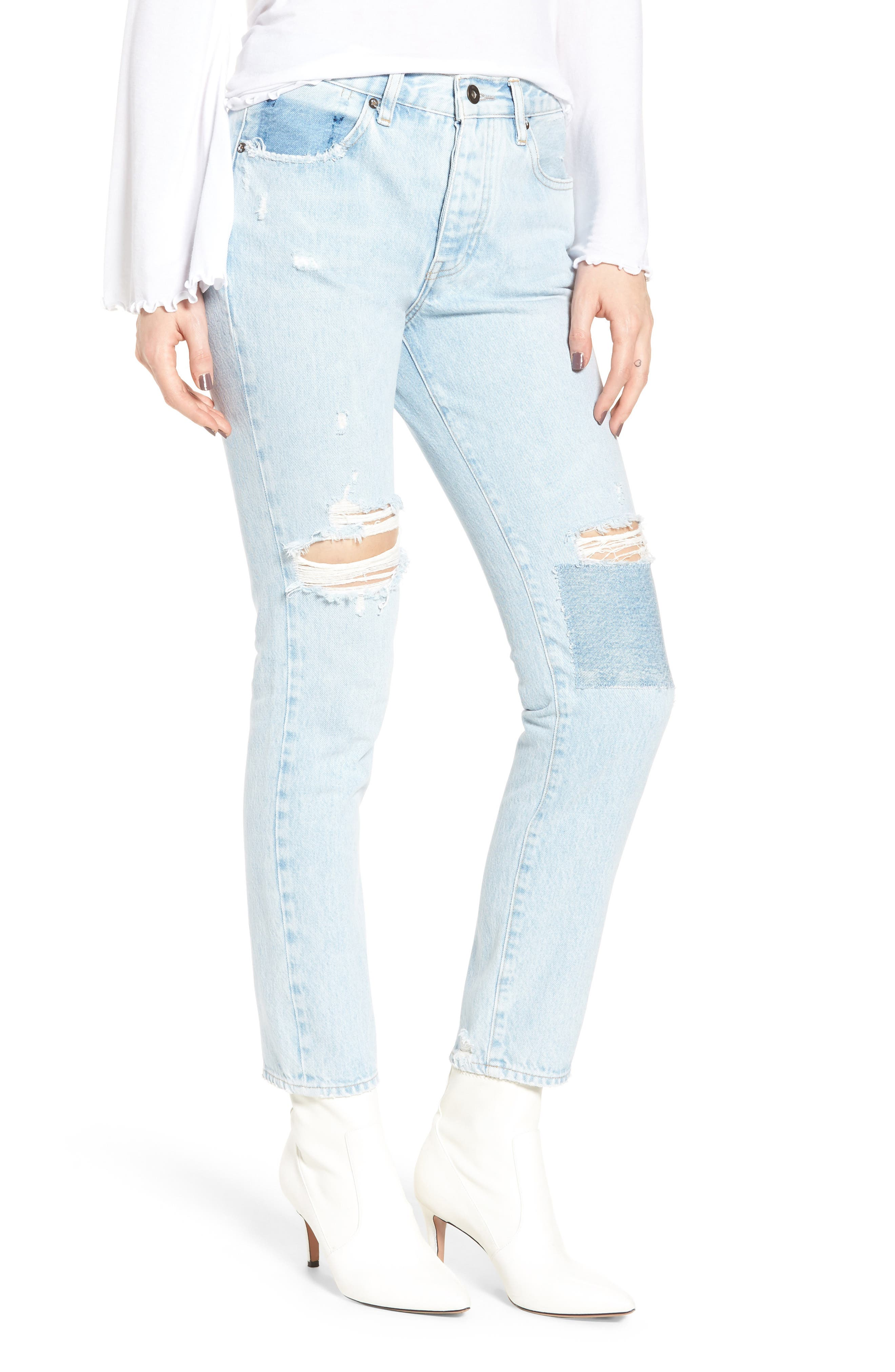 Twig II High Waist Ankle Slim Jeans,                             Main thumbnail 1, color,                             Pipeline Blue