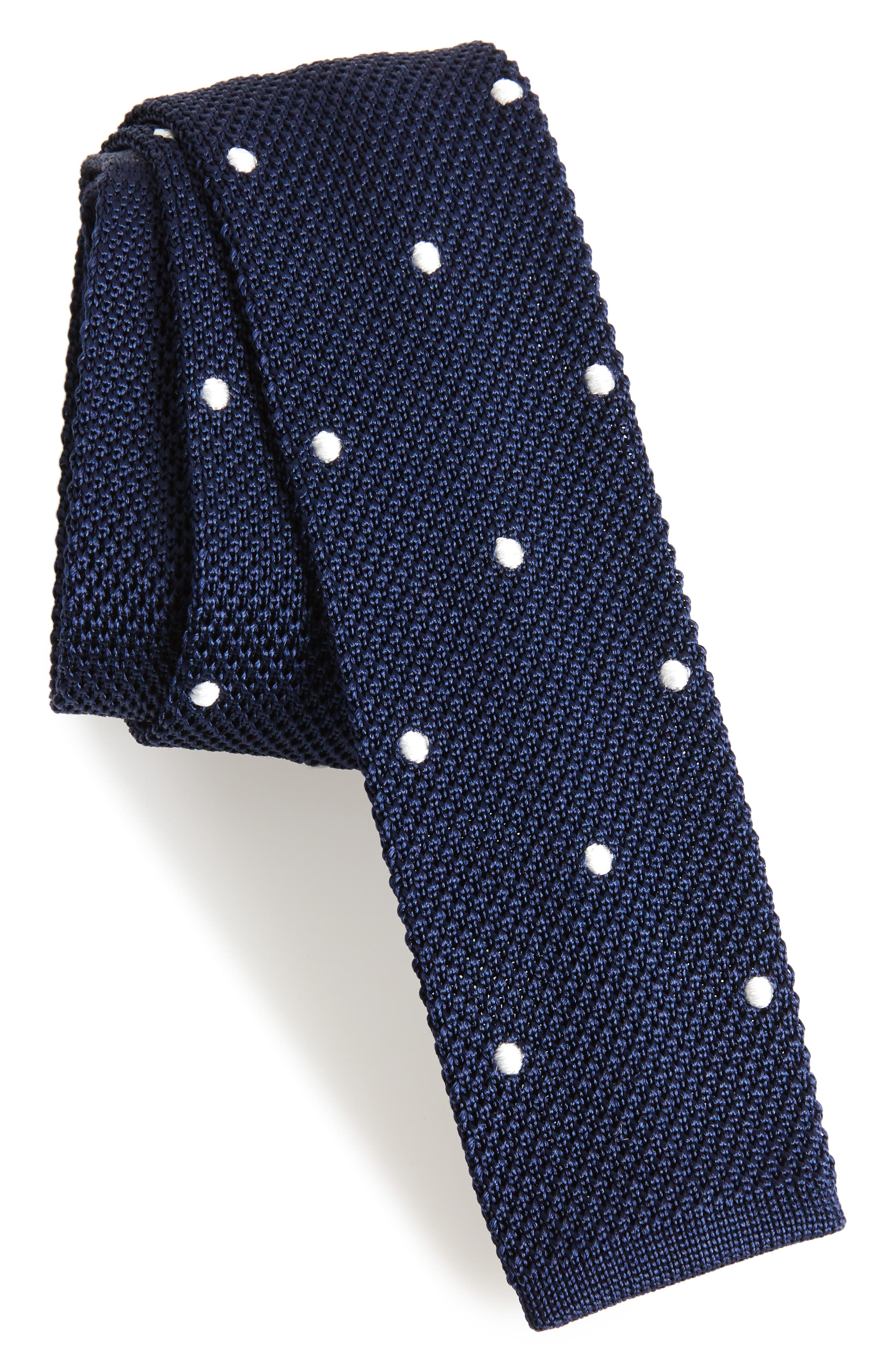 Dotted Skinny Knit Silk Tie,                         Main,                         color, Navy