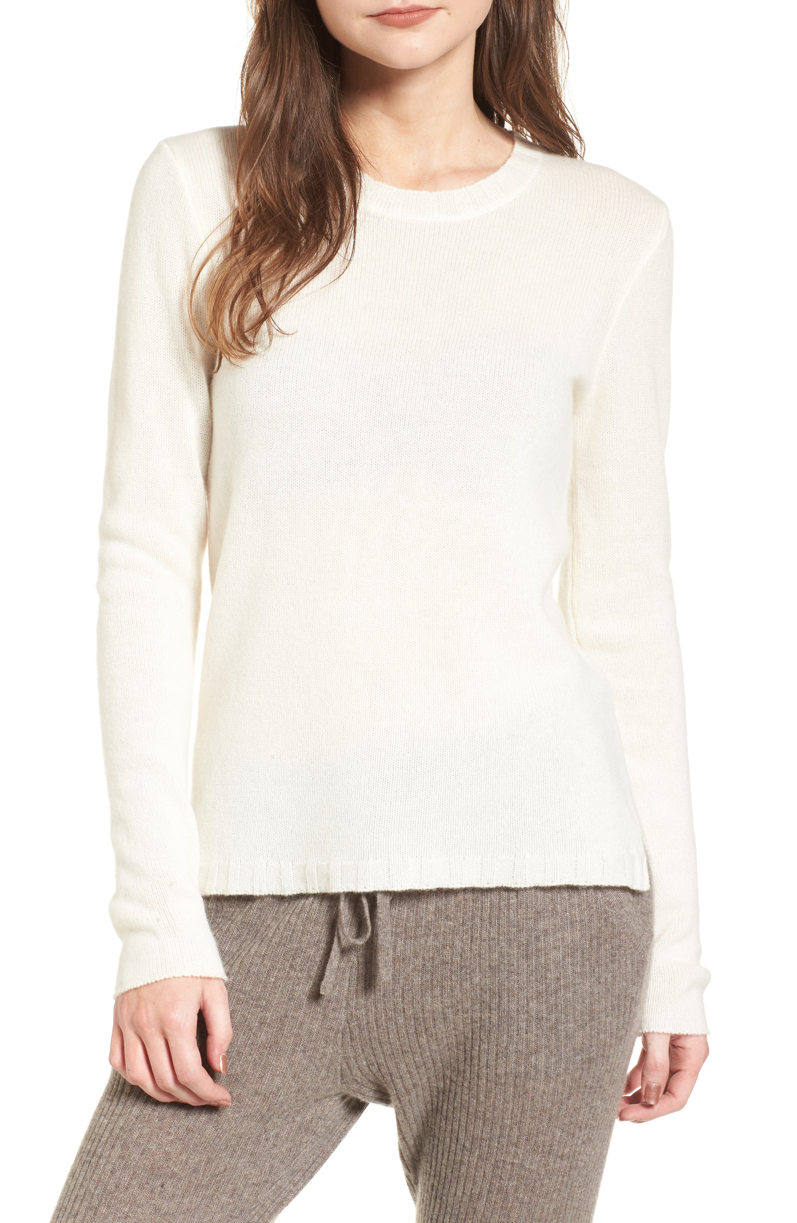 Cashmere Crewneck Sweater,                             Main thumbnail 1, color,                             Ivory