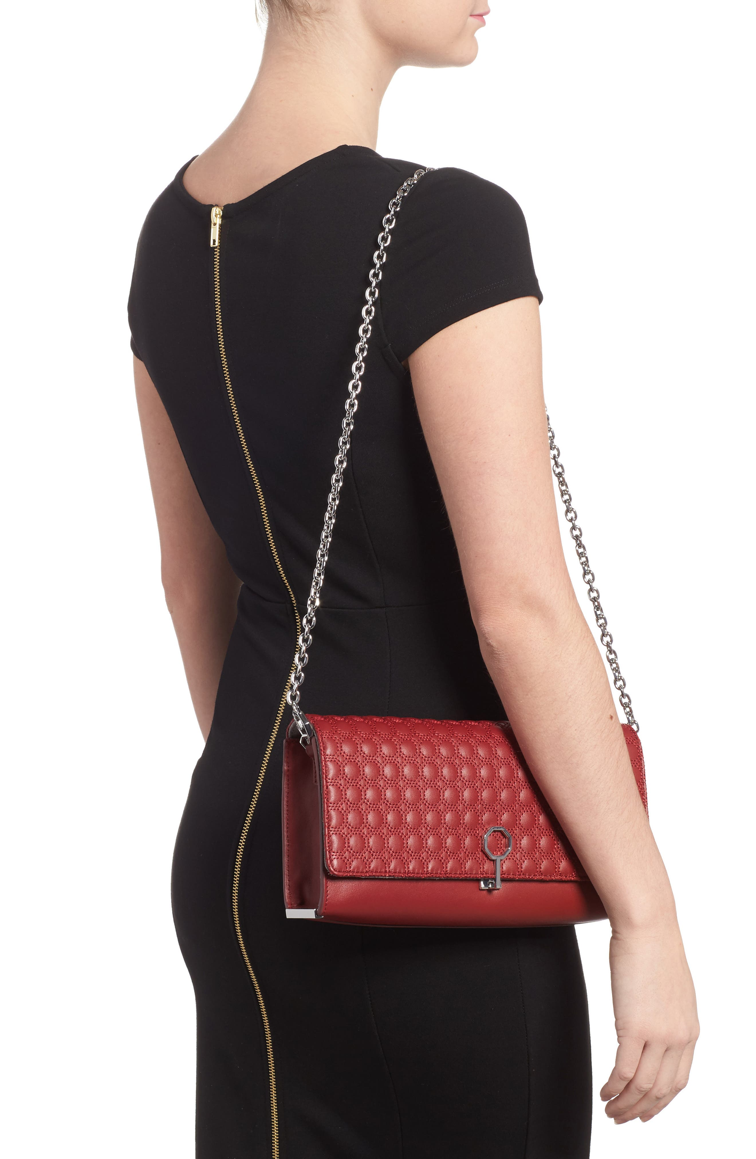 'Yvet' Leather Flap Clutch,                             Alternate thumbnail 2, color,                             Cherry Red