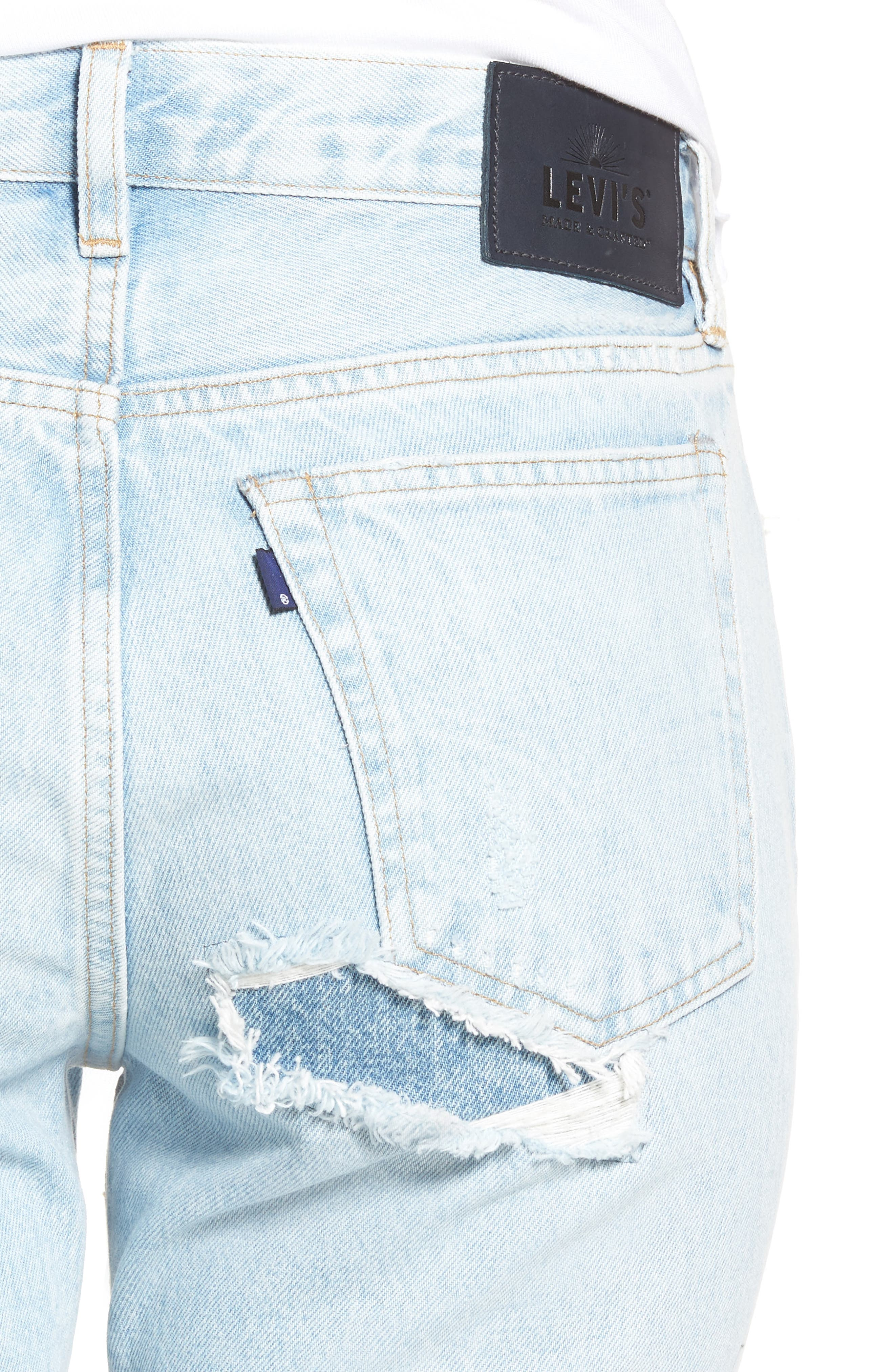 Twig II High Waist Ankle Slim Jeans,                             Alternate thumbnail 6, color,                             Pipeline Blue