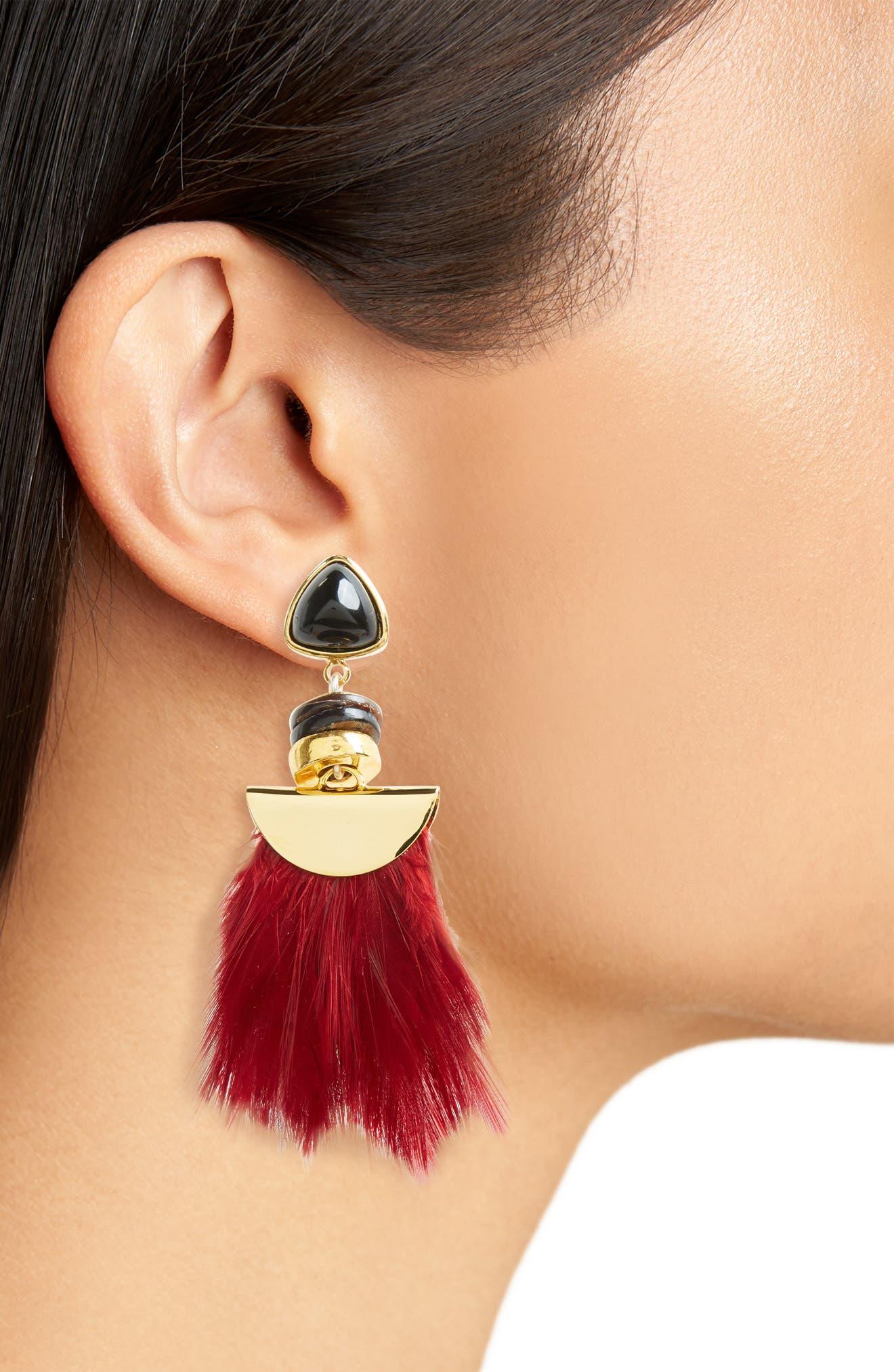 Parrot Feather Drop Earrings,                             Alternate thumbnail 2, color,                             Burgundy