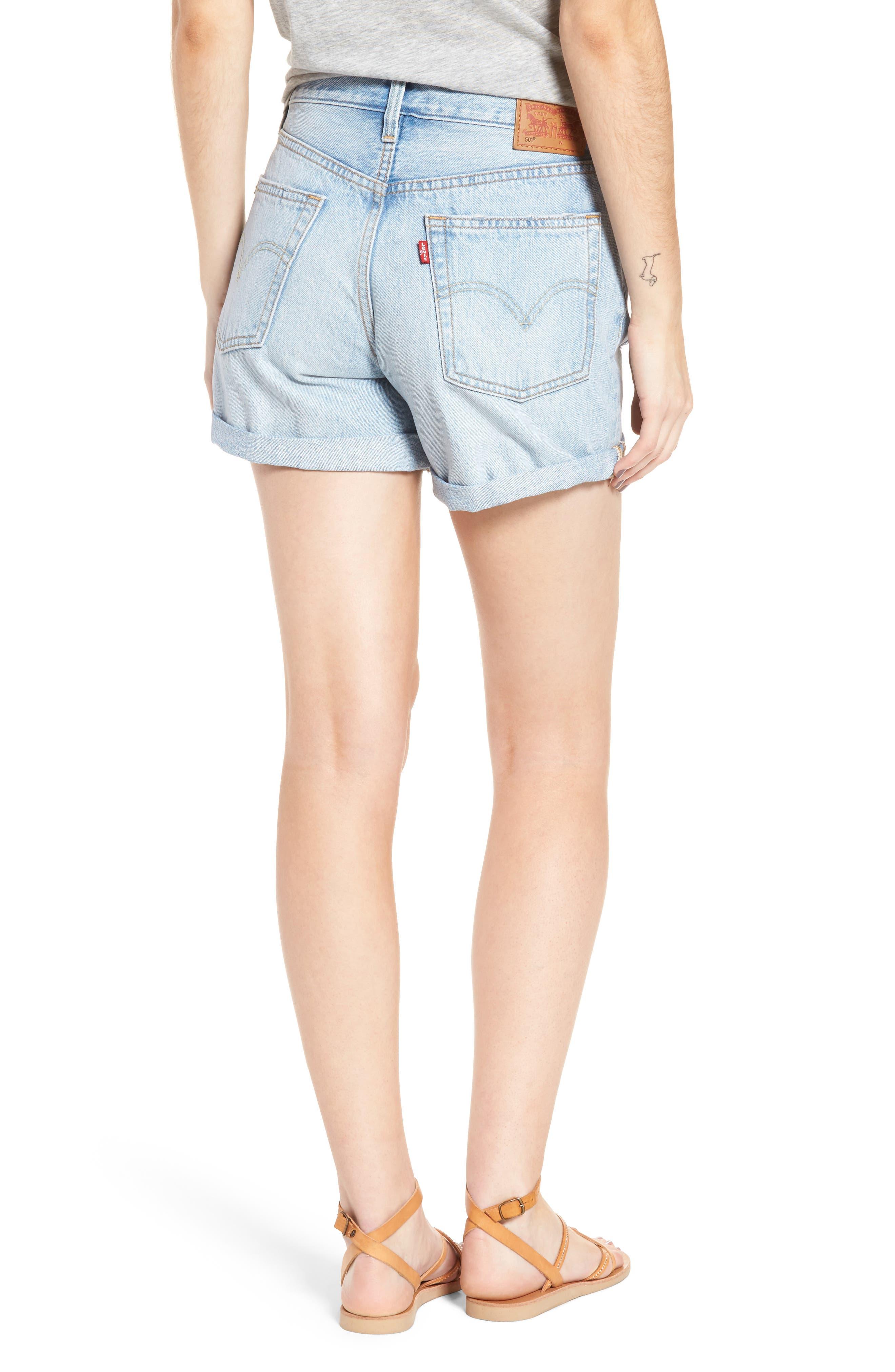 501<sup>®</sup> Cuffed Long Denim Shorts,                             Alternate thumbnail 2, color,                             North Beach Blues