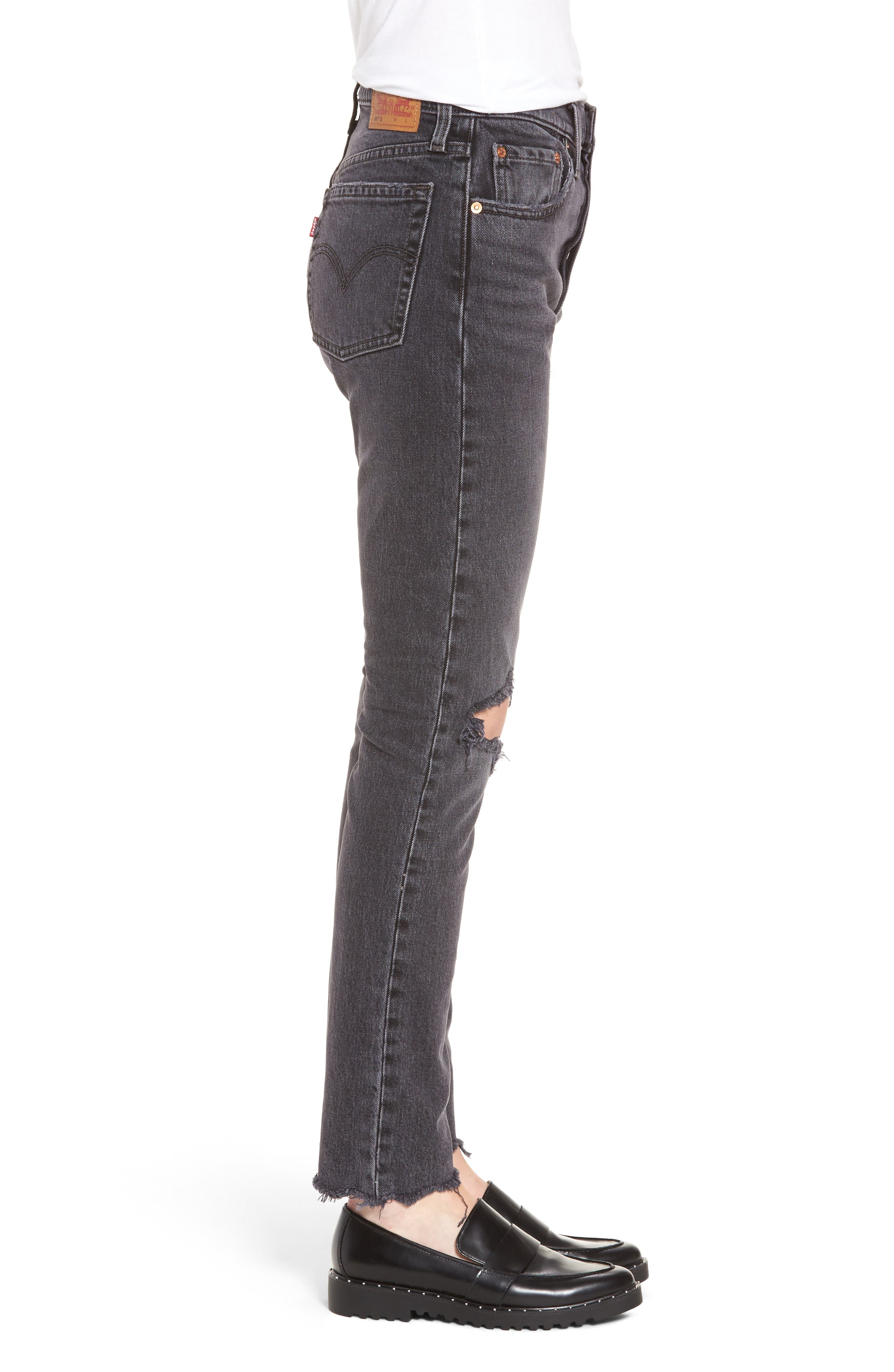 501<sup>®</sup> High Waist Ripped Skinny Jeans,                             Alternate thumbnail 3, color,                             Well Worn Black