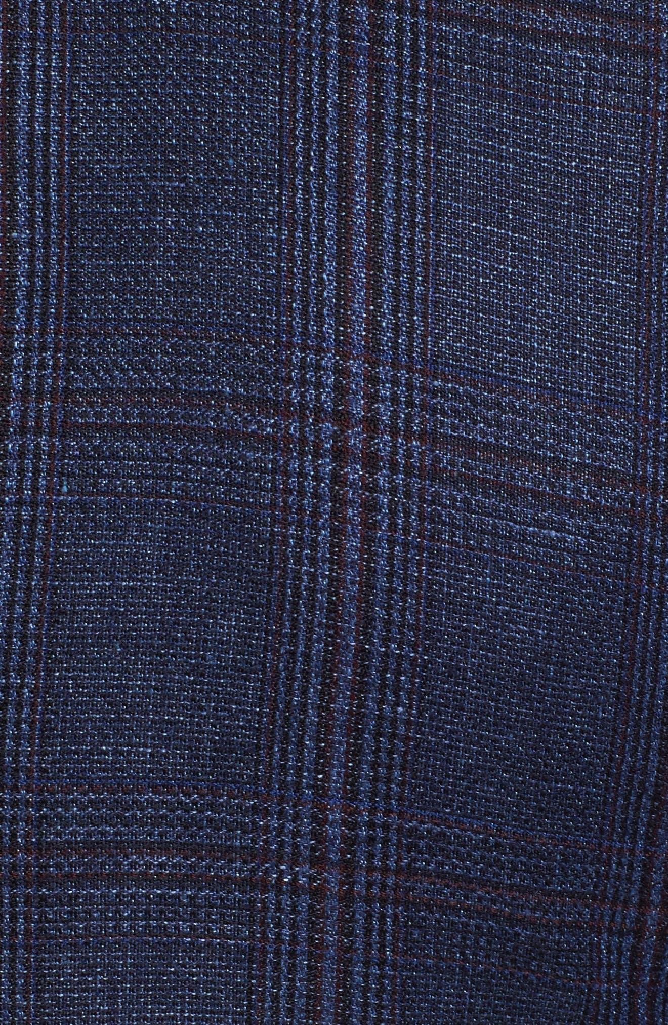 Trim Fit Plaid Linen & Wool Sport Coat,                             Alternate thumbnail 5, color,                             Navy Red