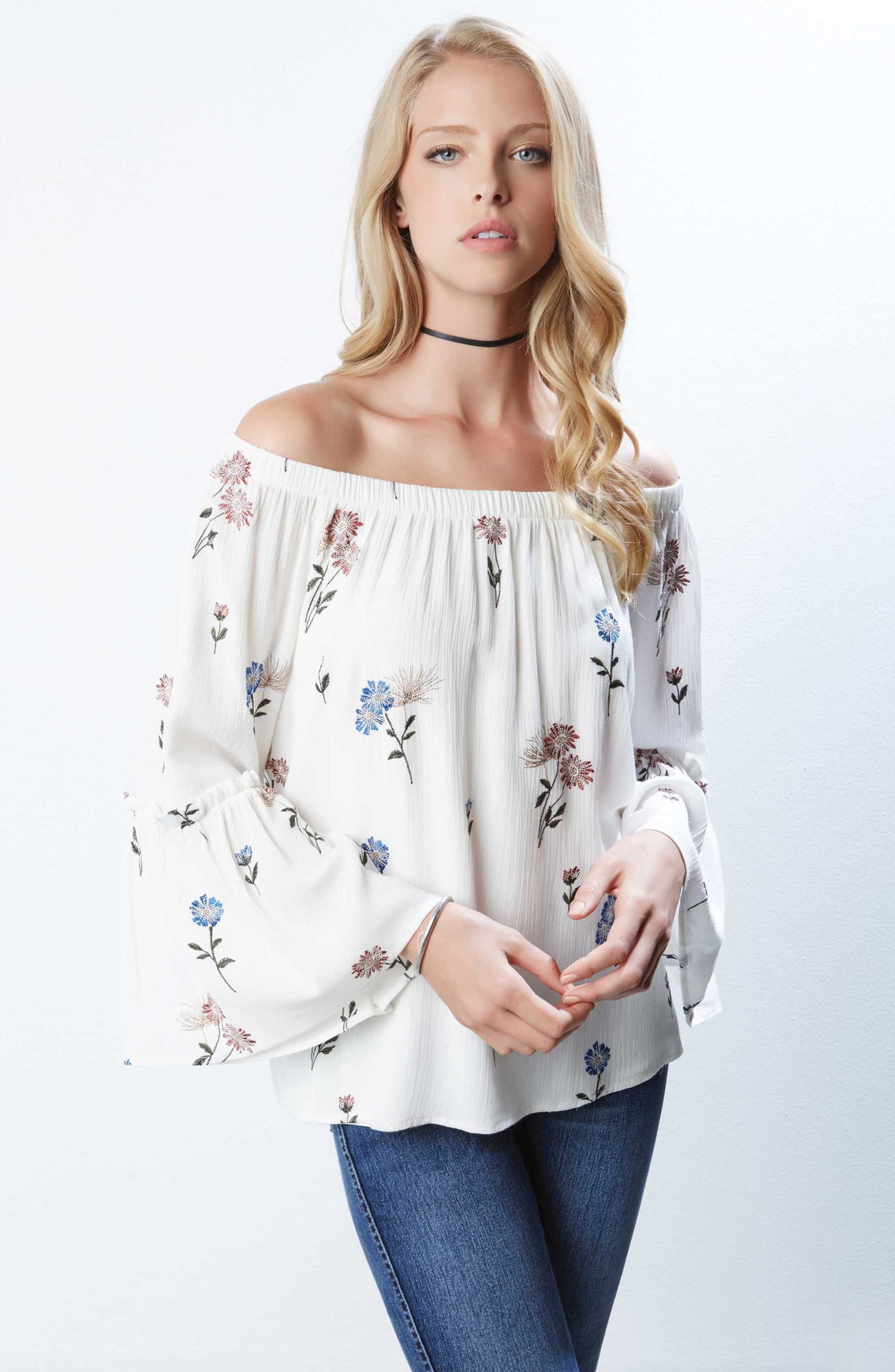 Off the Shoulder Embroidered Top,                             Alternate thumbnail 2, color,                             Off White