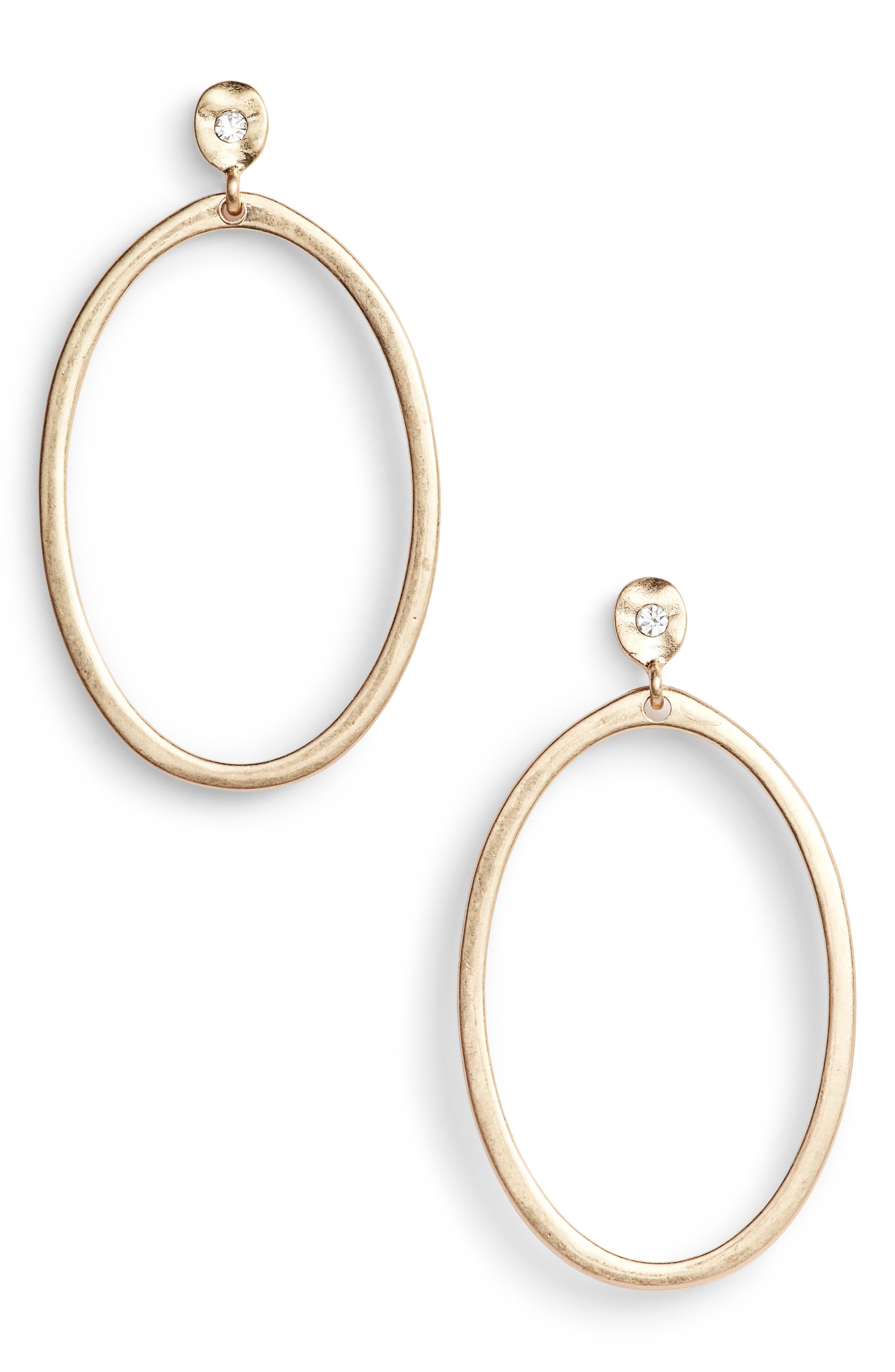 Organic Oval Hoop Earrings,                             Main thumbnail 1, color,                             Clear- Gold