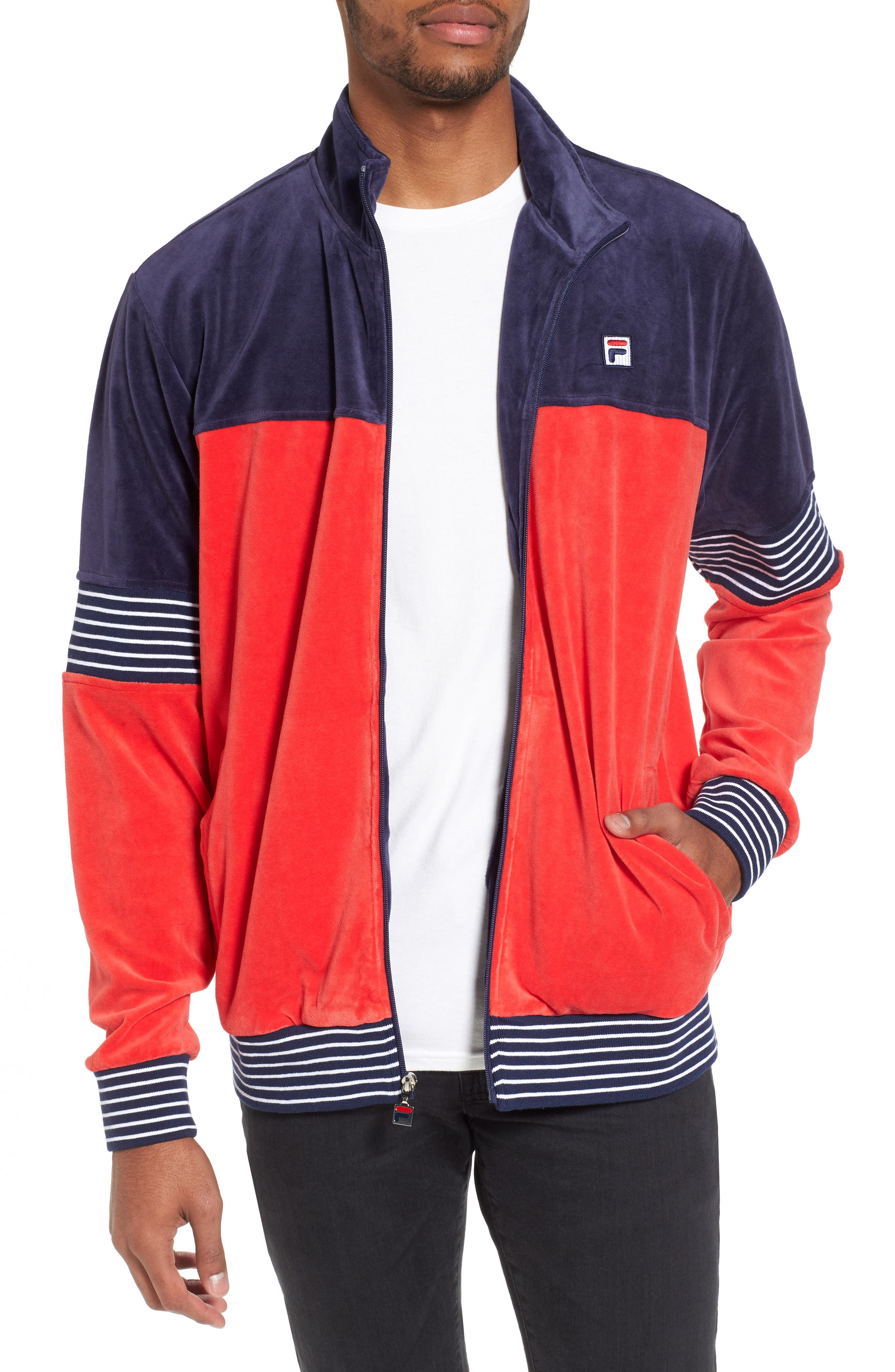 Marcus Velour Track Jacket,                             Main thumbnail 1, color,                             Navy/ Chinese Red/ White