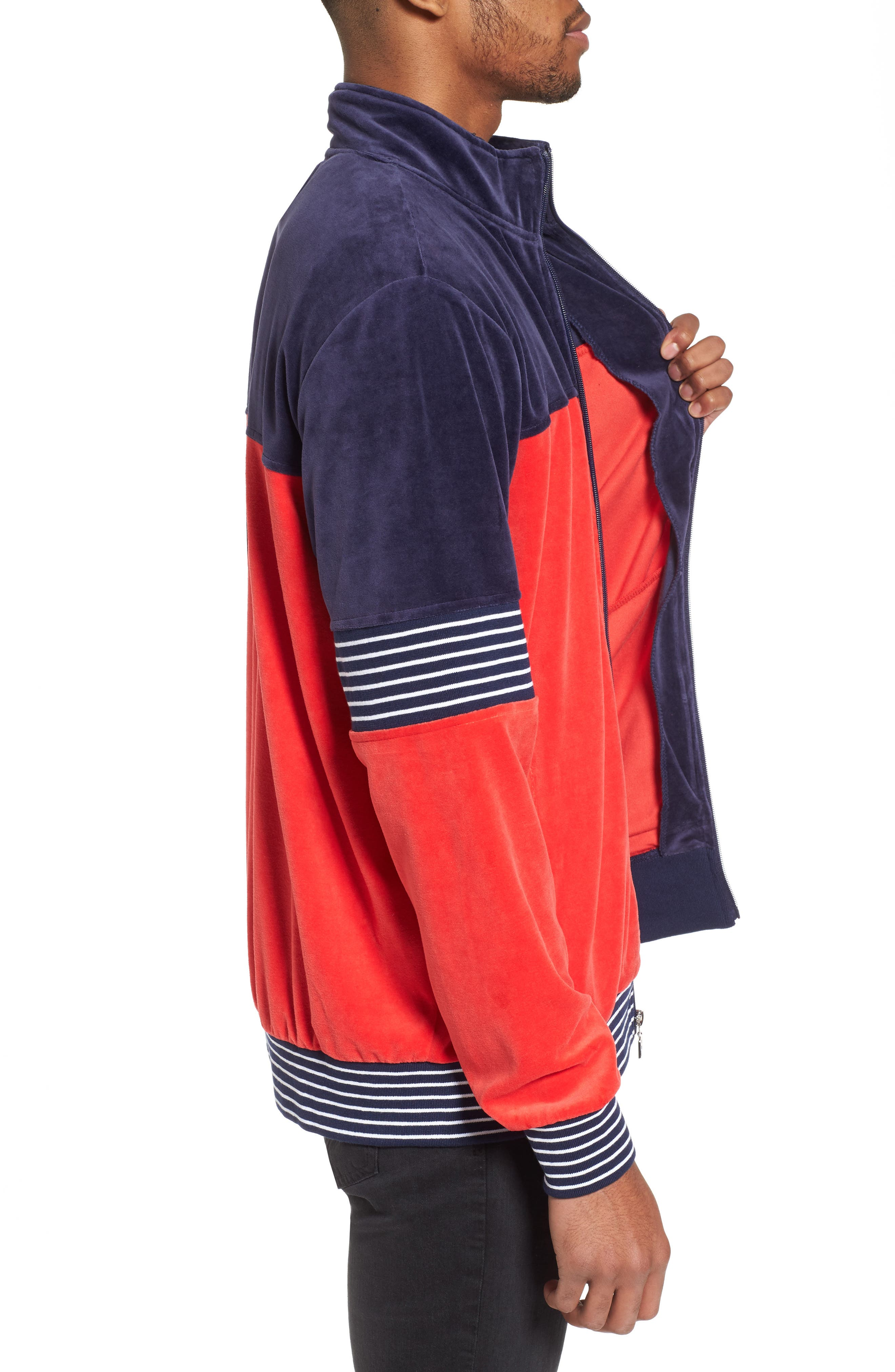 Marcus Velour Track Jacket,                             Alternate thumbnail 3, color,                             Navy/ Chinese Red/ White