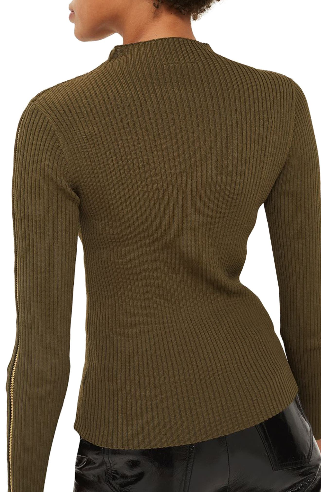 Zip Sleeve Funnel Neck Sweater,                             Alternate thumbnail 3, color,                             Olive