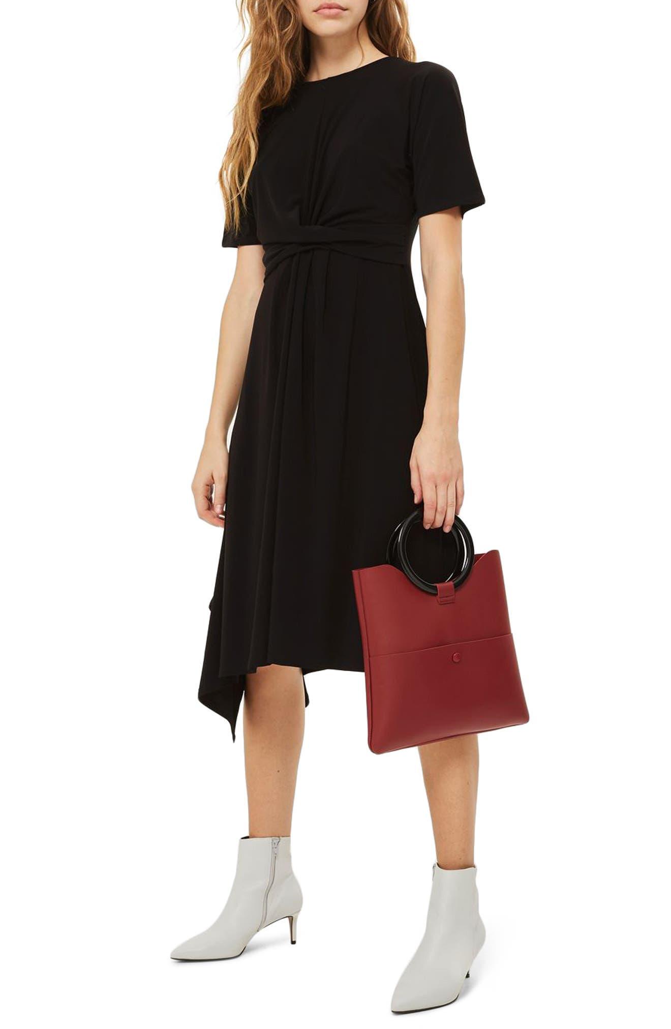 Twist Front Jersey Midi Dress,                         Main,                         color, Black
