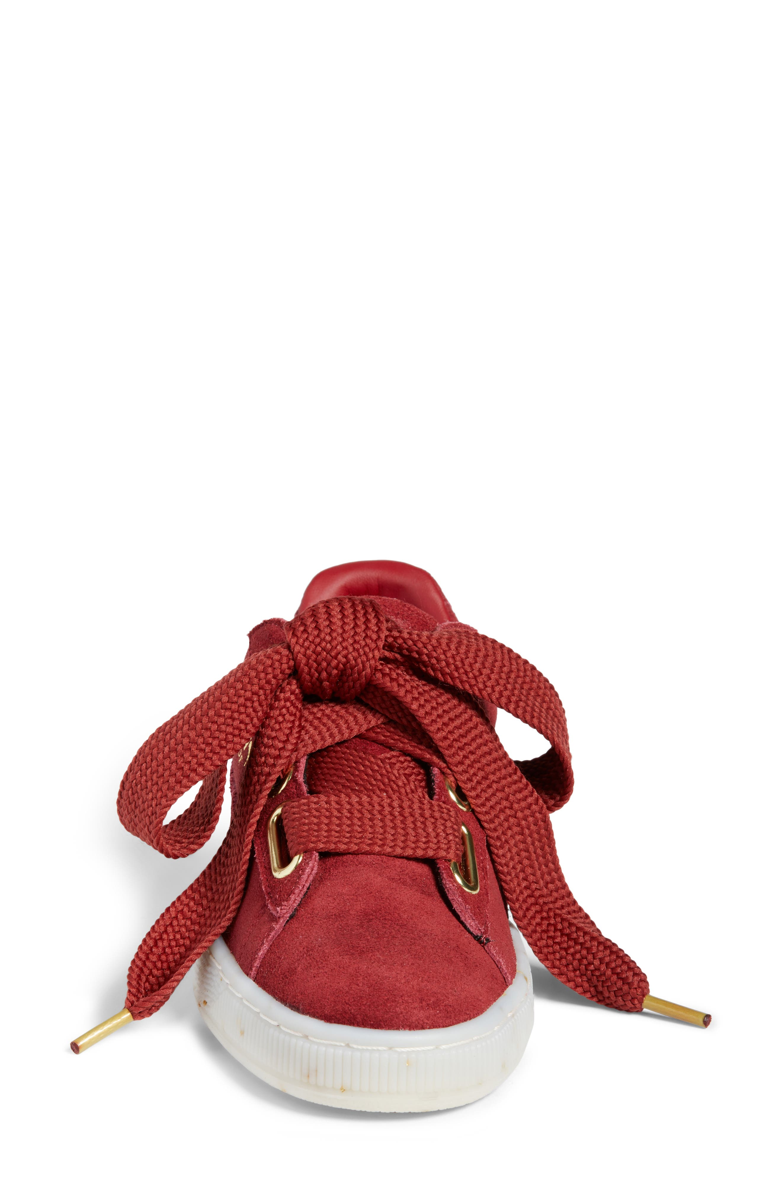 Suede - Heart Sneaker,                             Alternate thumbnail 4, color,                             Red Dahlia/ Red Dahlia