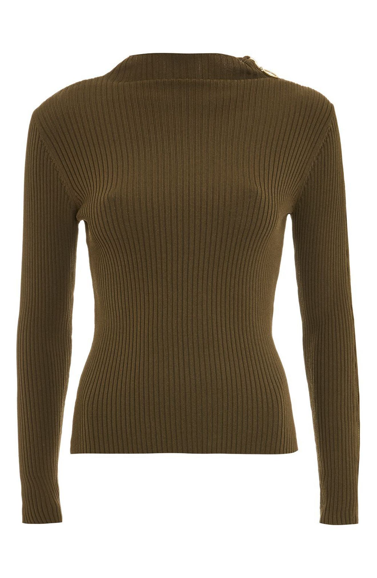 Zip Sleeve Funnel Neck Sweater,                             Alternate thumbnail 4, color,                             Olive